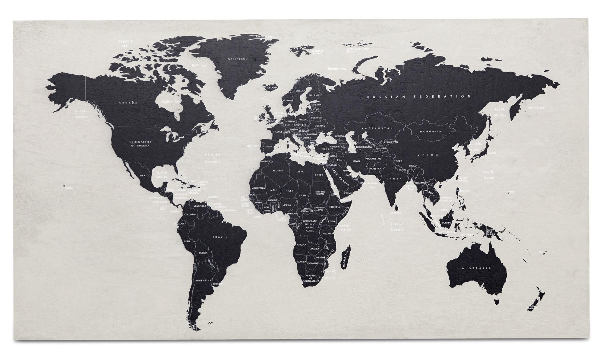 Tavlor - World Map betongkonst - Grå - Betong
