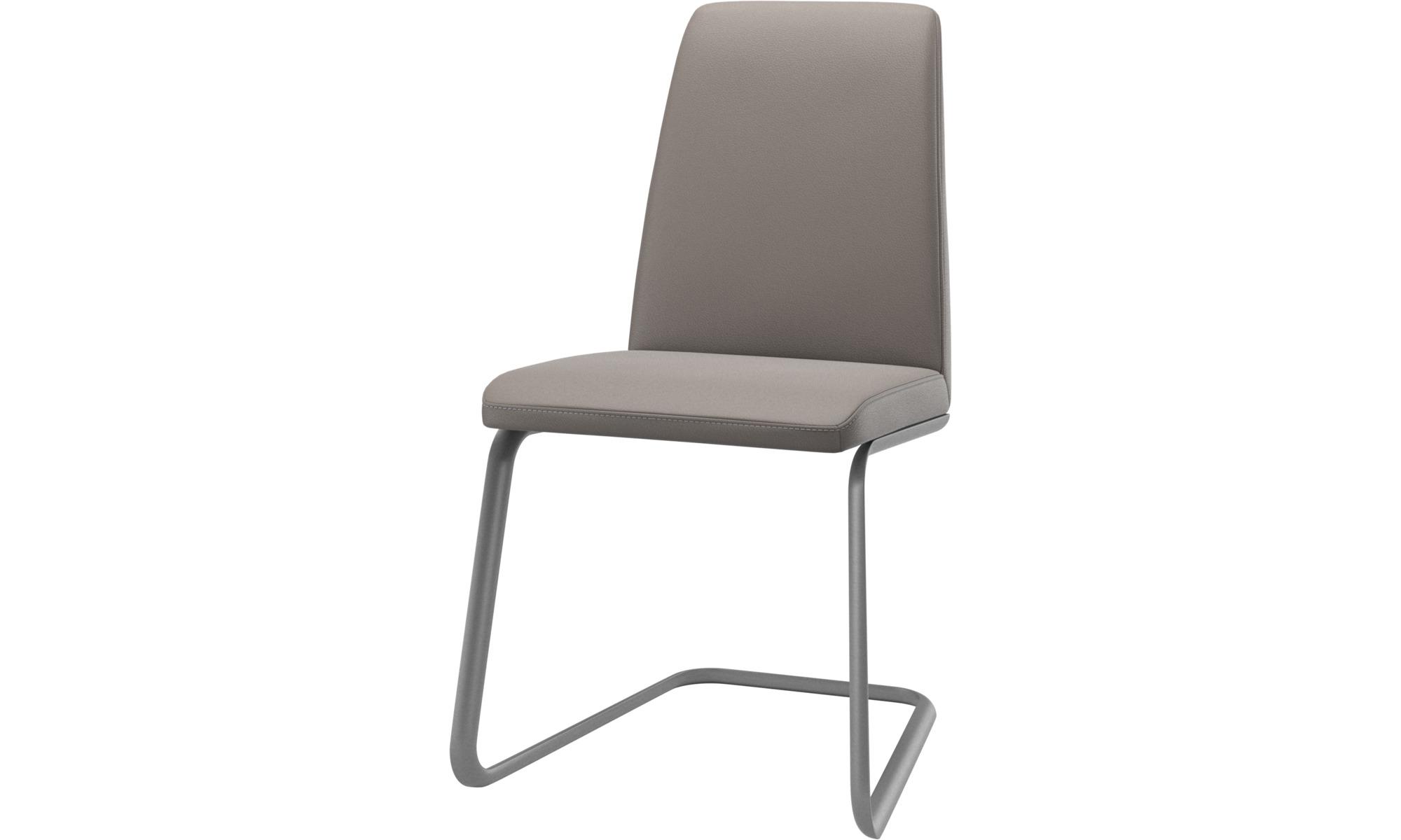 Krzesła do jadalni - Krzesło Lausanne - Beżowy - Skóra