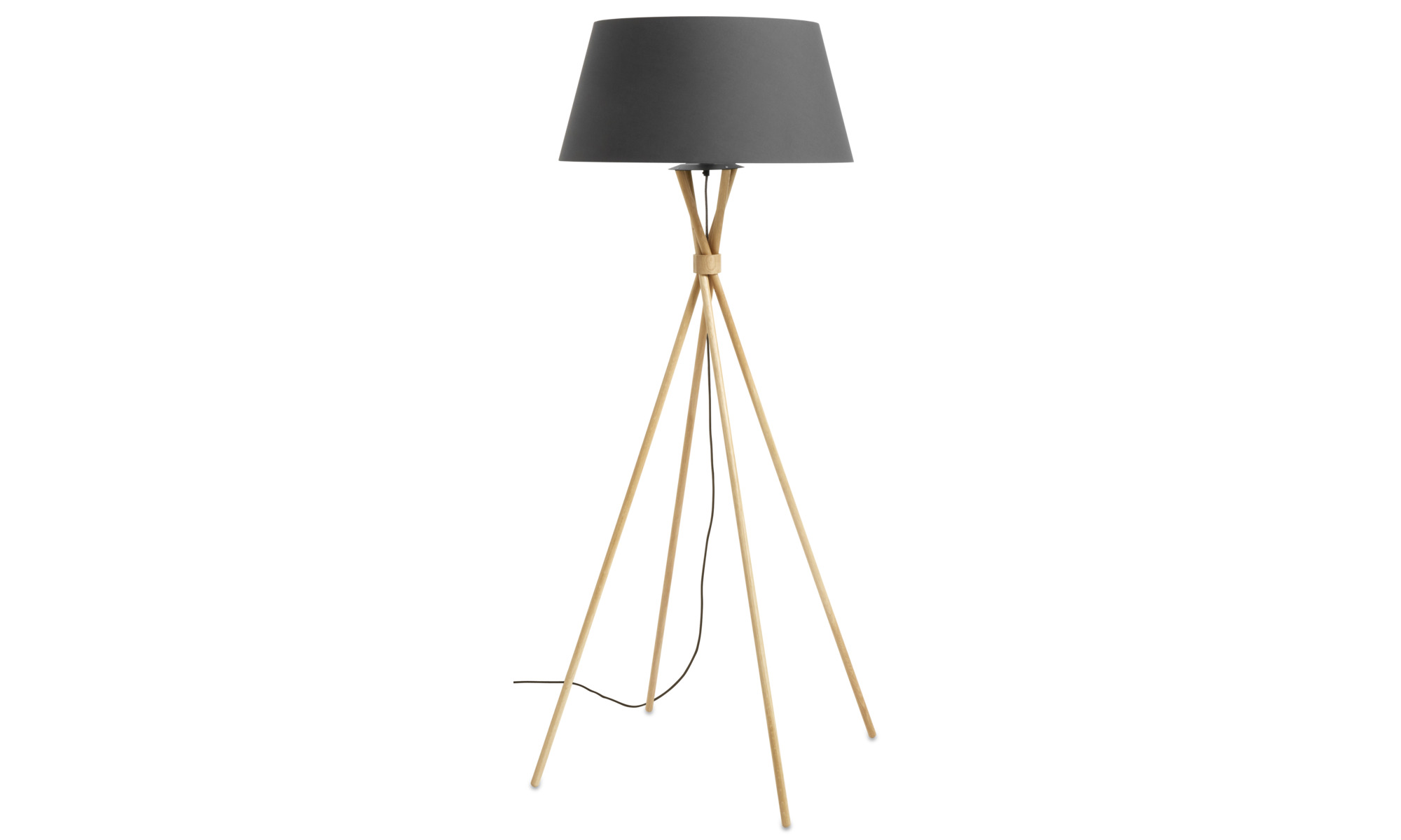 Lampy - Lampa podłogowa Main - Brązowy - Dąb