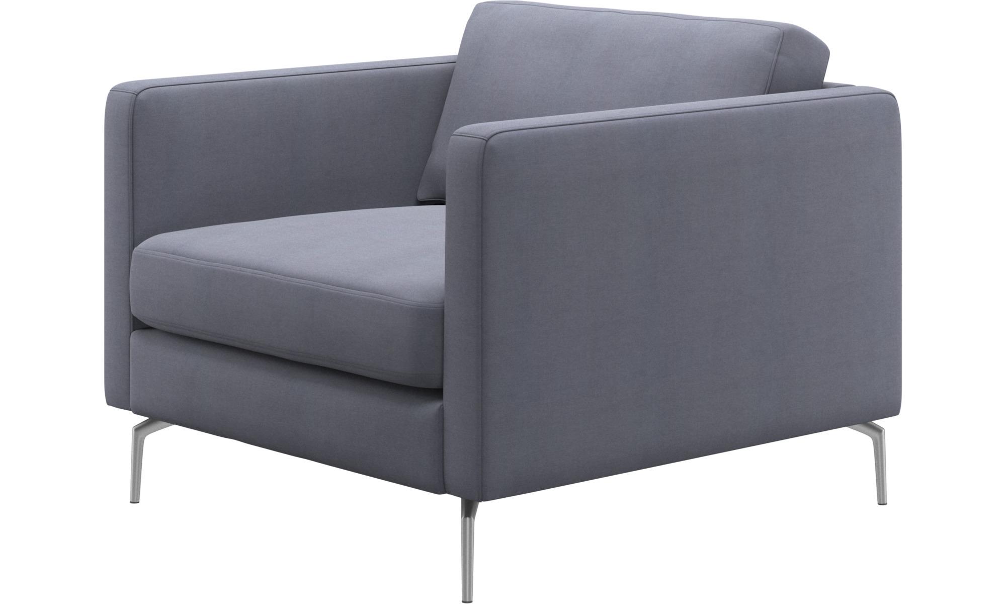 Armchairs - Osaka chair, regular seat - Blue - Fabric