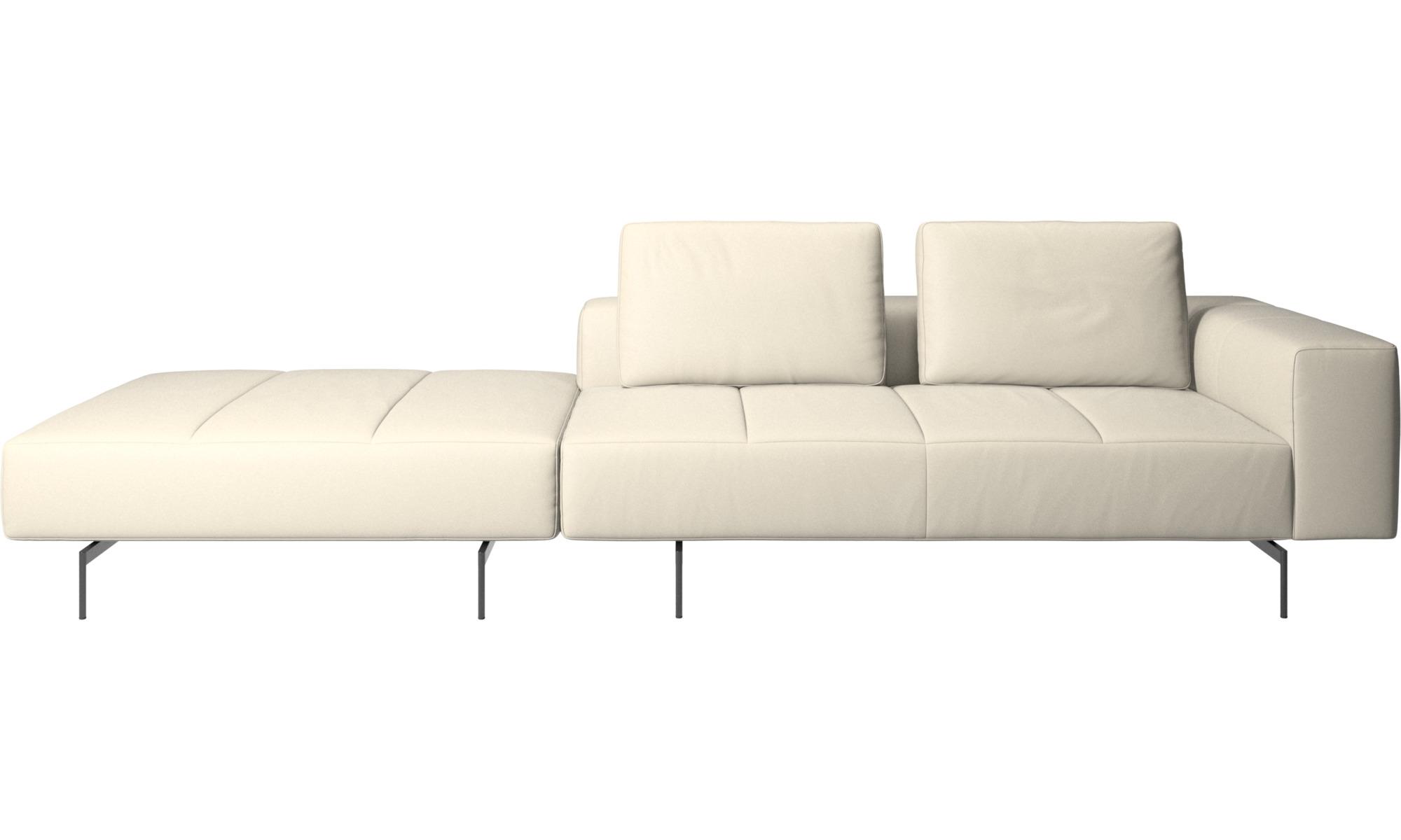 Canapés modulaires - Canapé Amsterdam avec pouf sur la gauche - Blanc - Cuir