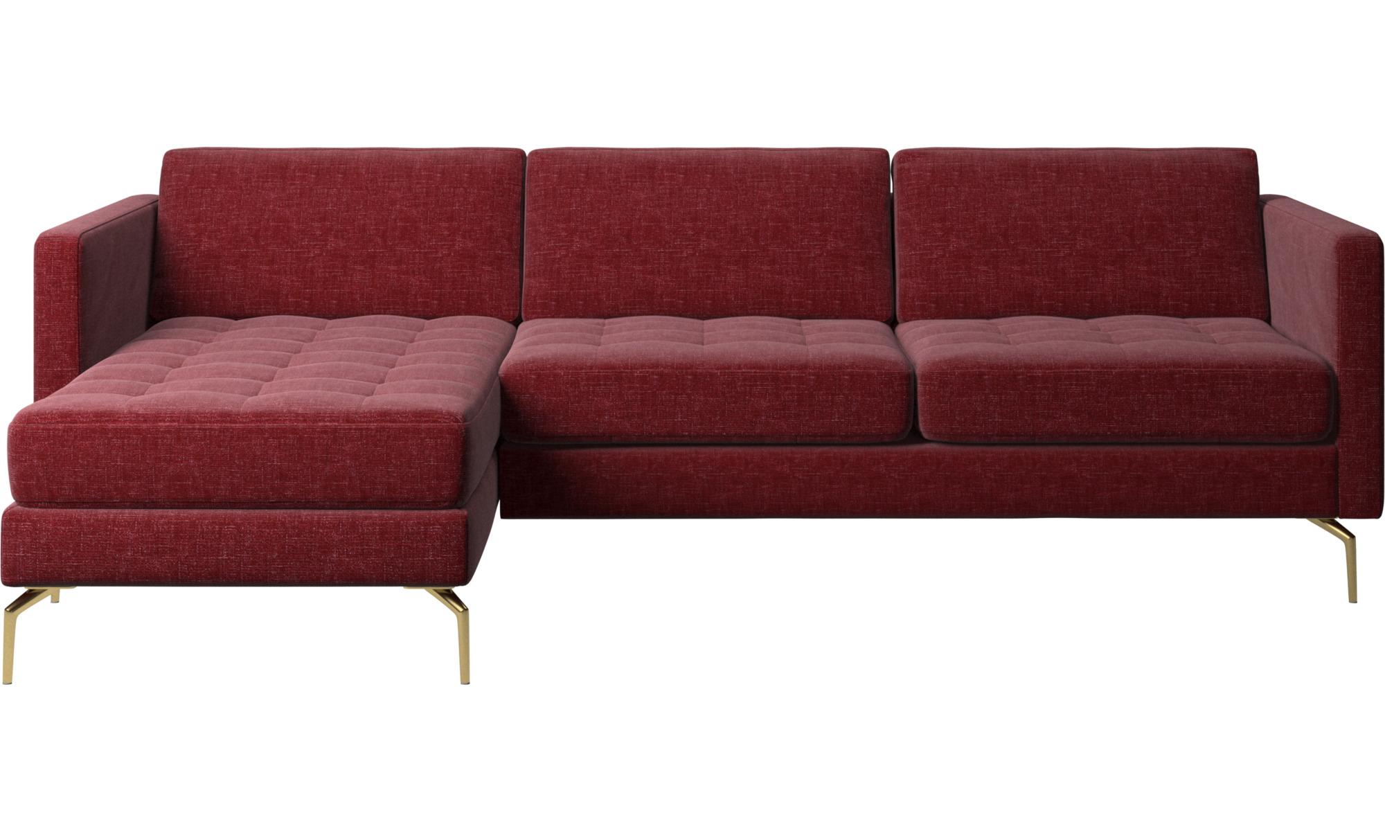 rød sofa med chaiselong