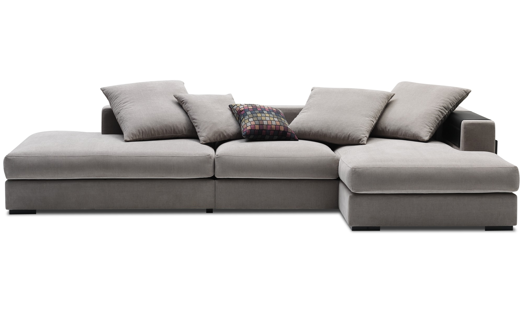Exceptionnel 3 Seater Sofas   Cenova Sofa With Lounging And Resting Unit   Gray   Fabric