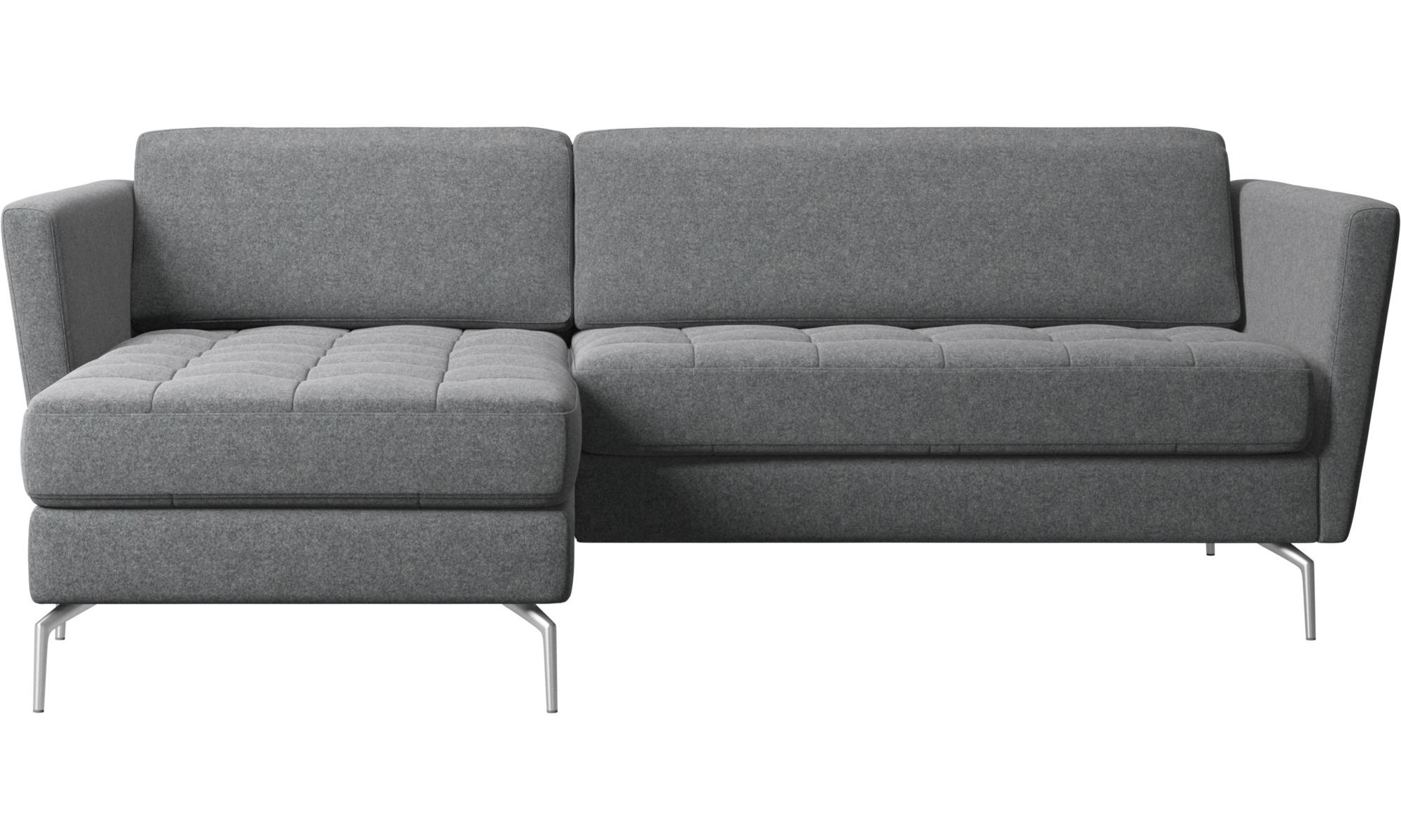 - Chaise Longue Sofas - Osaka Sofa With Resting Unit, Tufted Seat - BoConcept