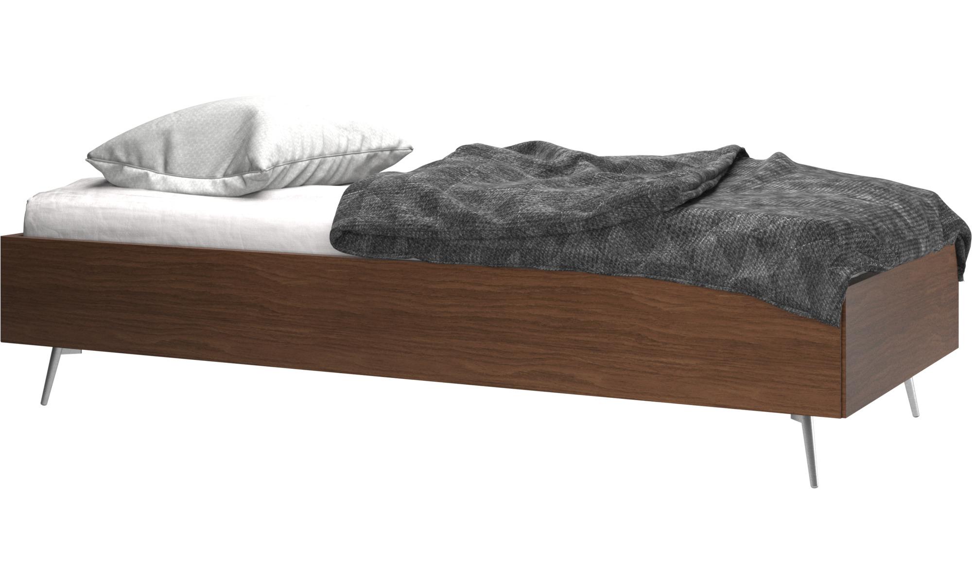 Camas - Cama Lugano, no incluye colchón - En marrón - Nogal