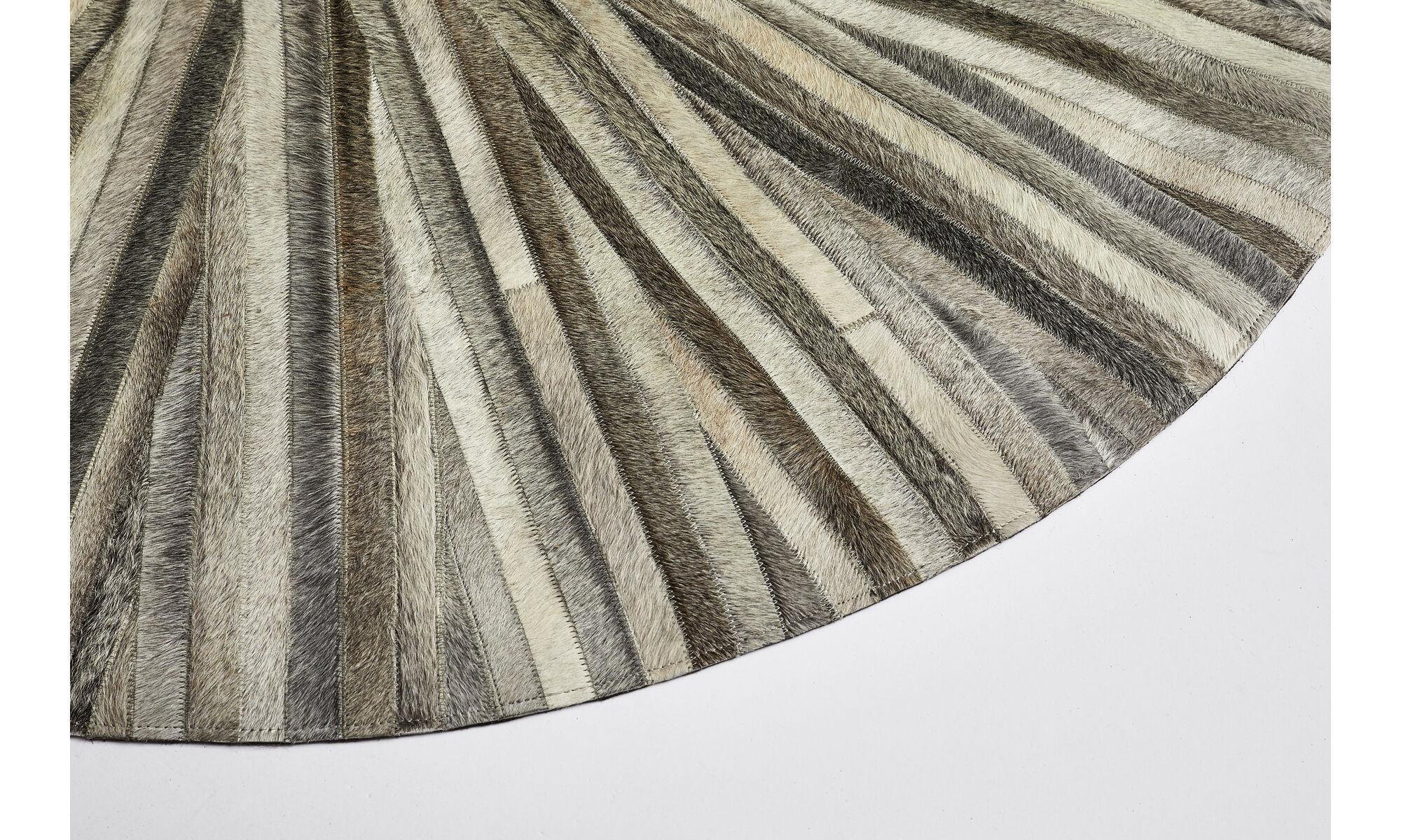 Leather Rugs Dimas Rug Round Gray