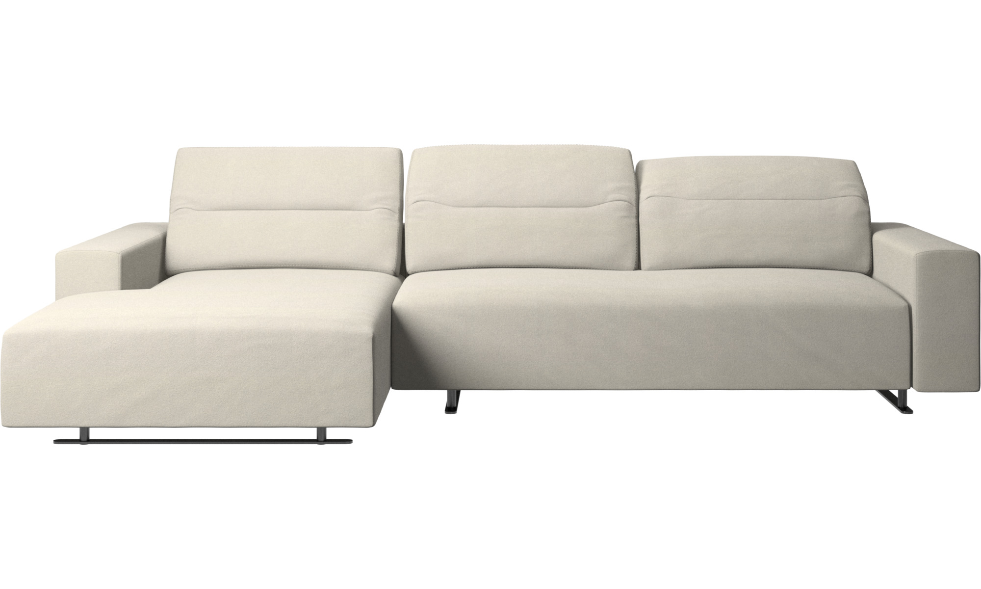 Sofaer med chaiselong - Hampton sofa med justerbar ryg og lounge modul venstre side - Hvid - Stof