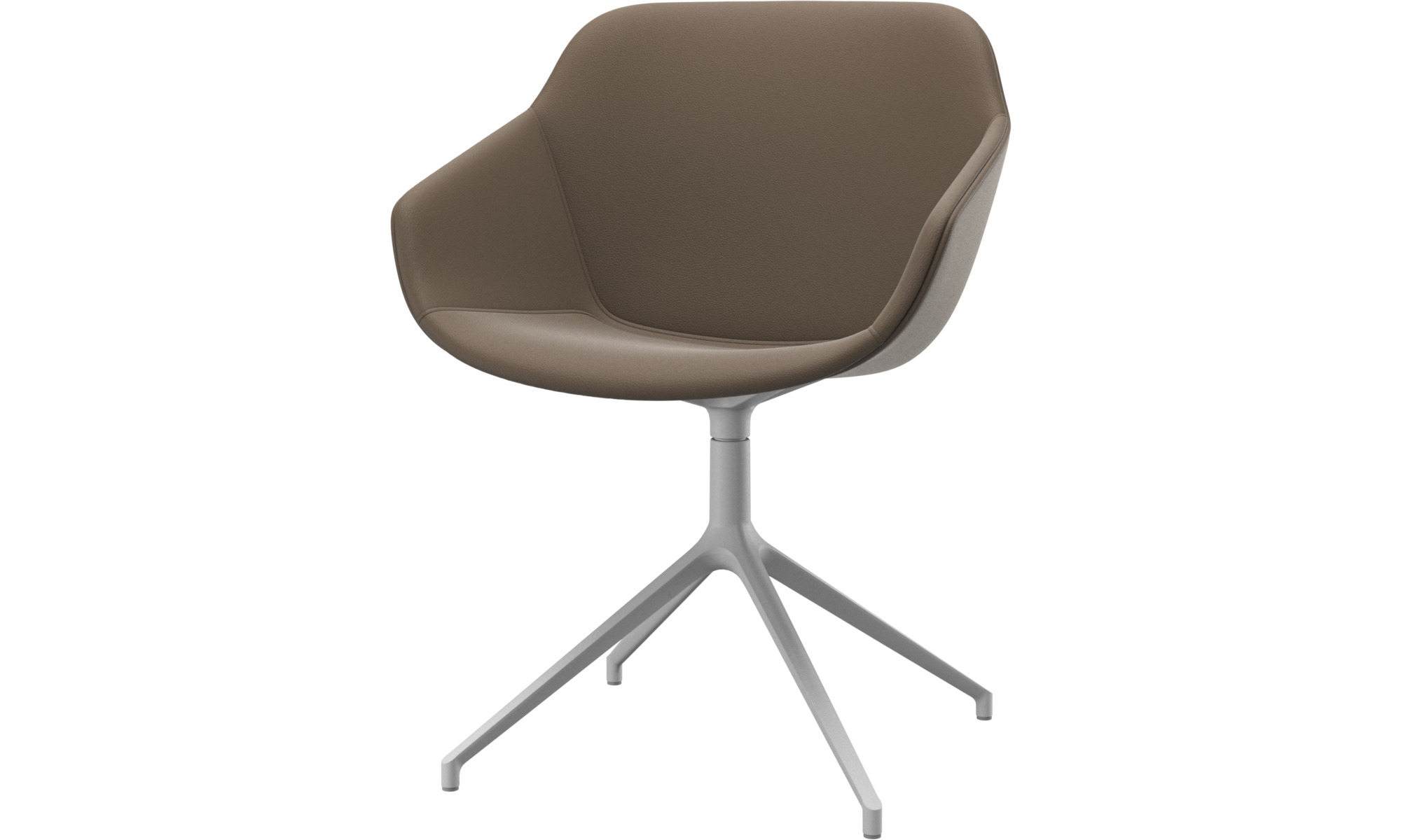Dining chairs - Vienna chair with swivel function - Grey - Leather