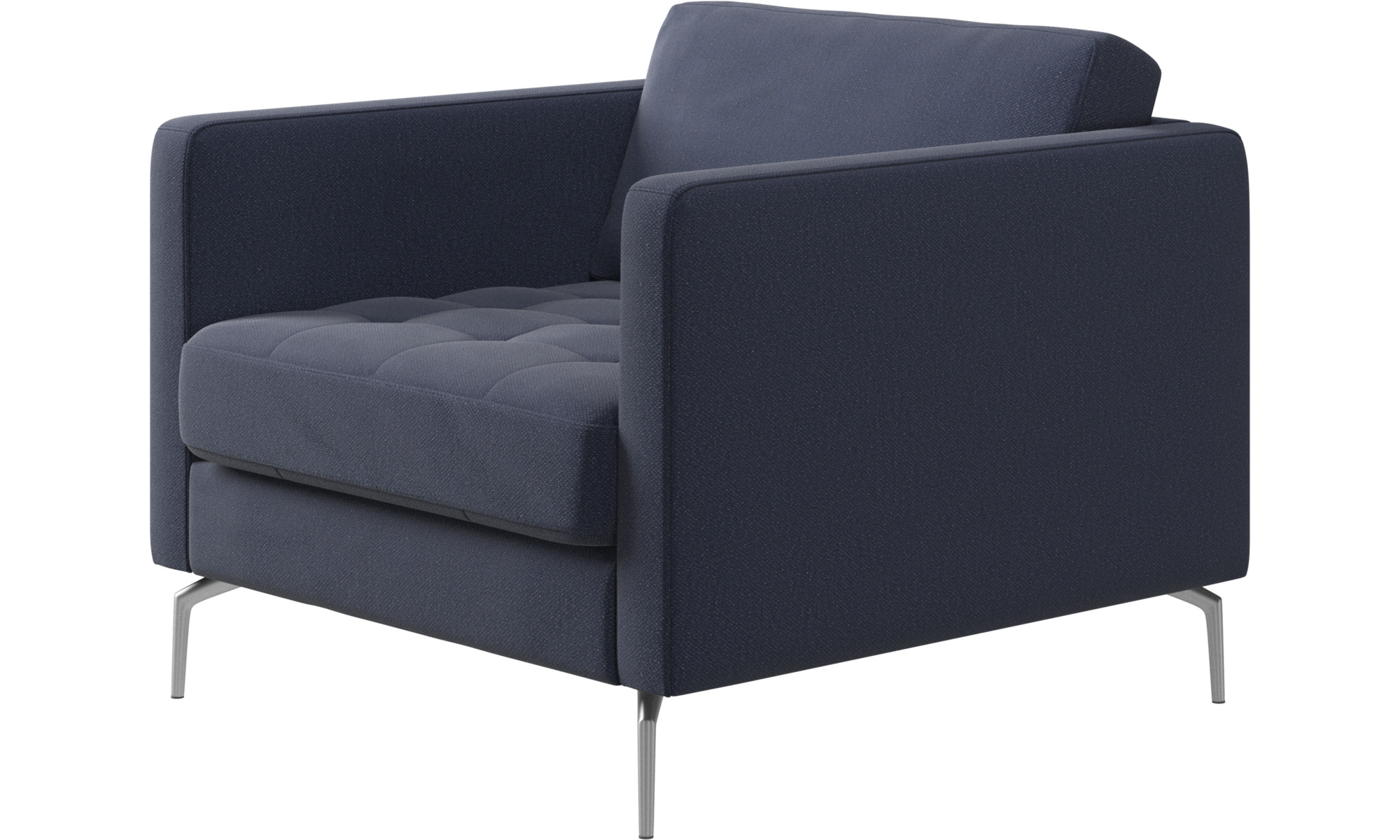 Armchairs - Osaka chair, tufted seat - Blue - Fabric