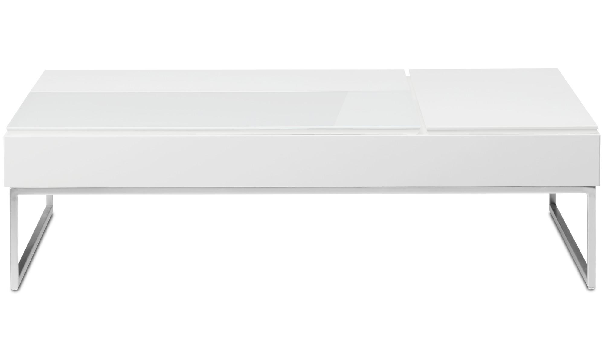 Tables basses - Table basse multifonction Chiva avec espace de rangement - rectangulaire - Blanc - Laqué