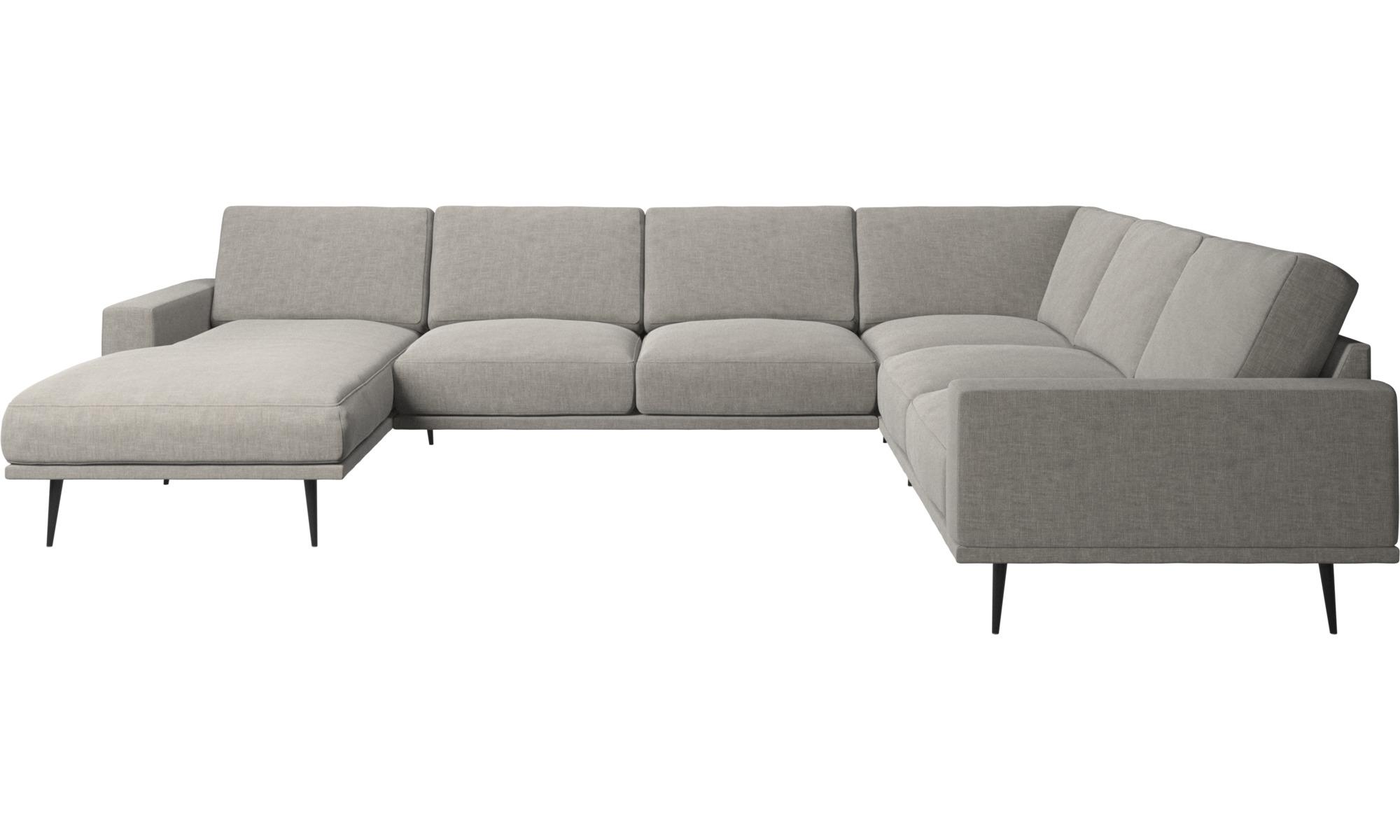 Canapés d'angle - Canapé d'angle Carlton avec méridienne - Gris - Tissu