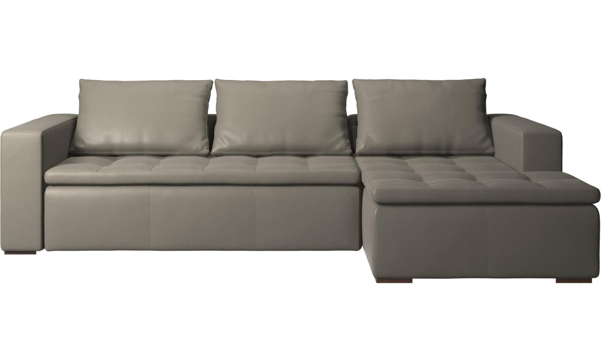 Sofaer med chaiselong - Mezzo sofa med hvilemodul - Grå - Læder