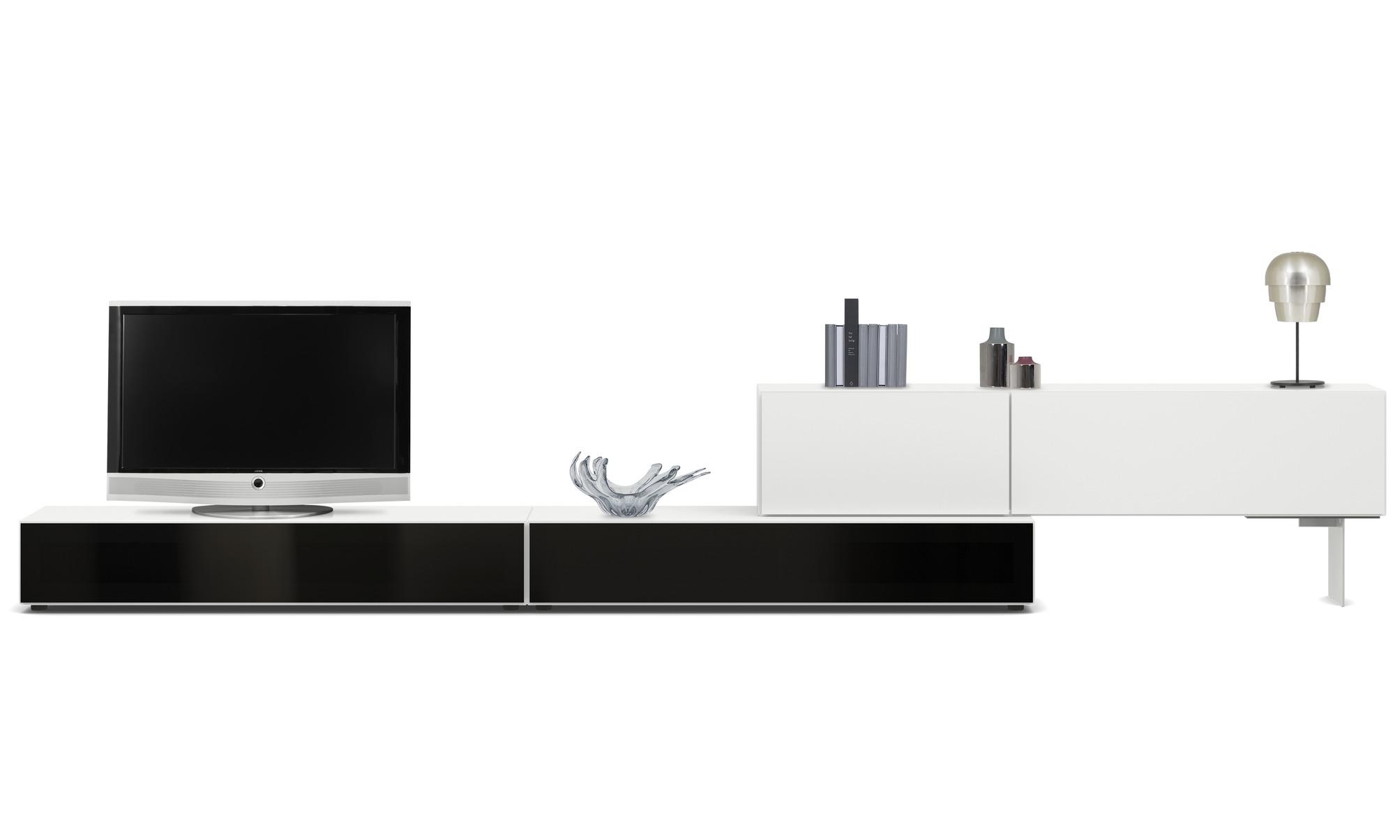 Muebles de TV - Gabinete de base Lugano con puertas abatibles hacia abajo - Blanco - Laca