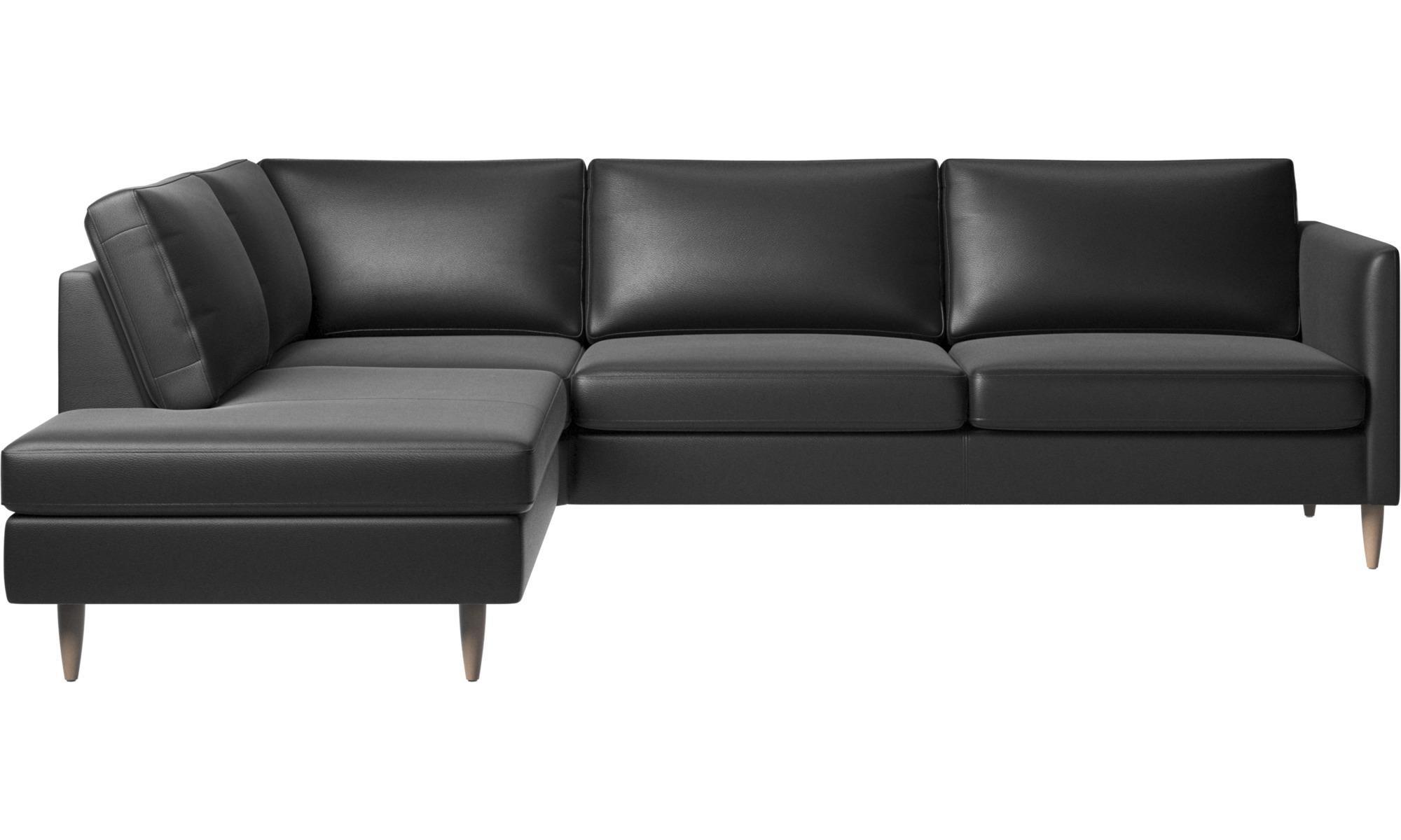 Hjørnesofaer - Indivi hjørnesofa med loungemodul - Sort - Læder