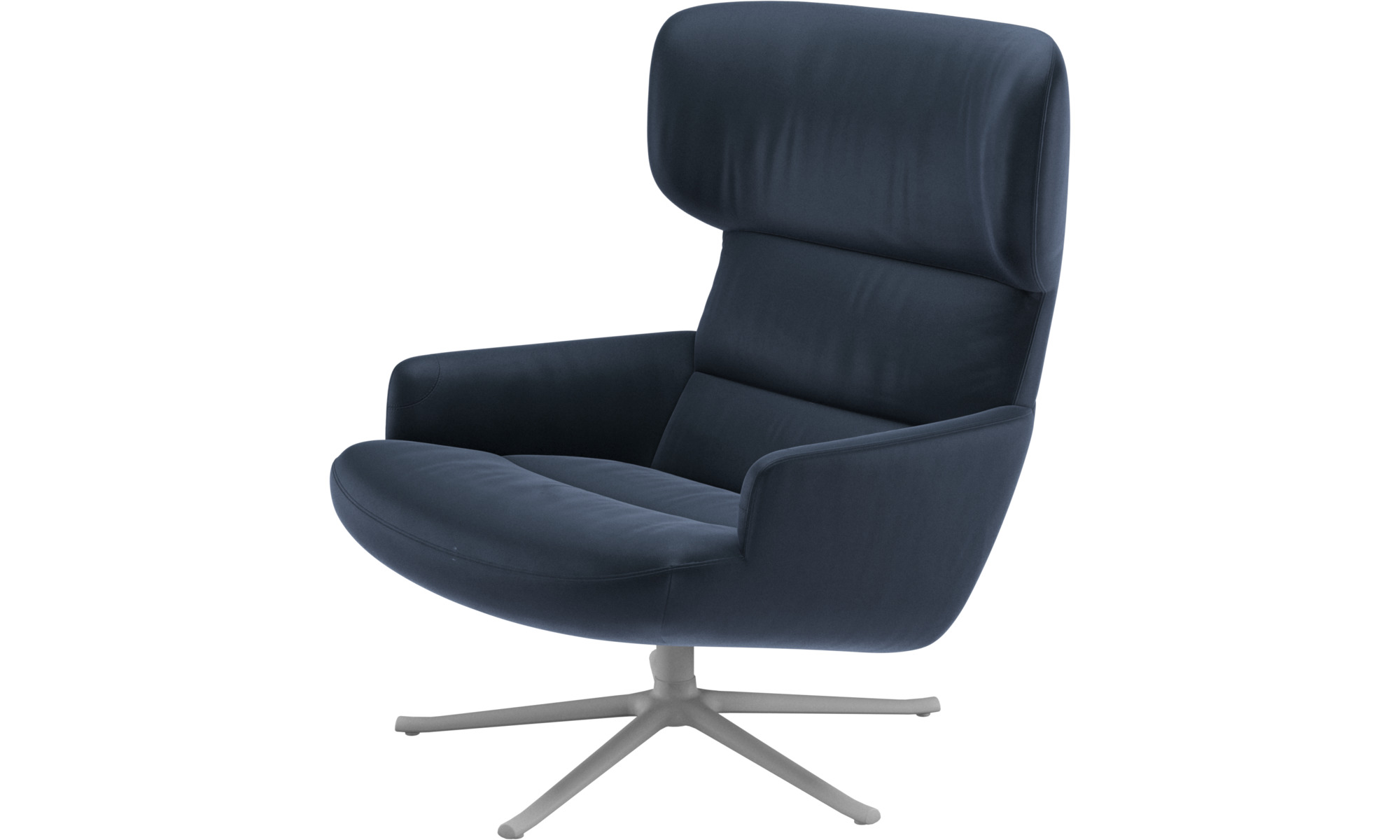 Armchairs - Trento chair with swivel function - Blue - Leather