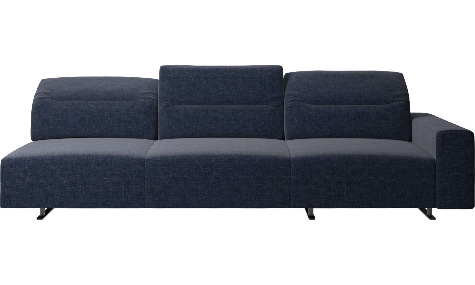 Canapés 3 places - Canapé d'angle Hampton avec dossier ajustable et espace de rangement côté droit - Bleu - Tissu