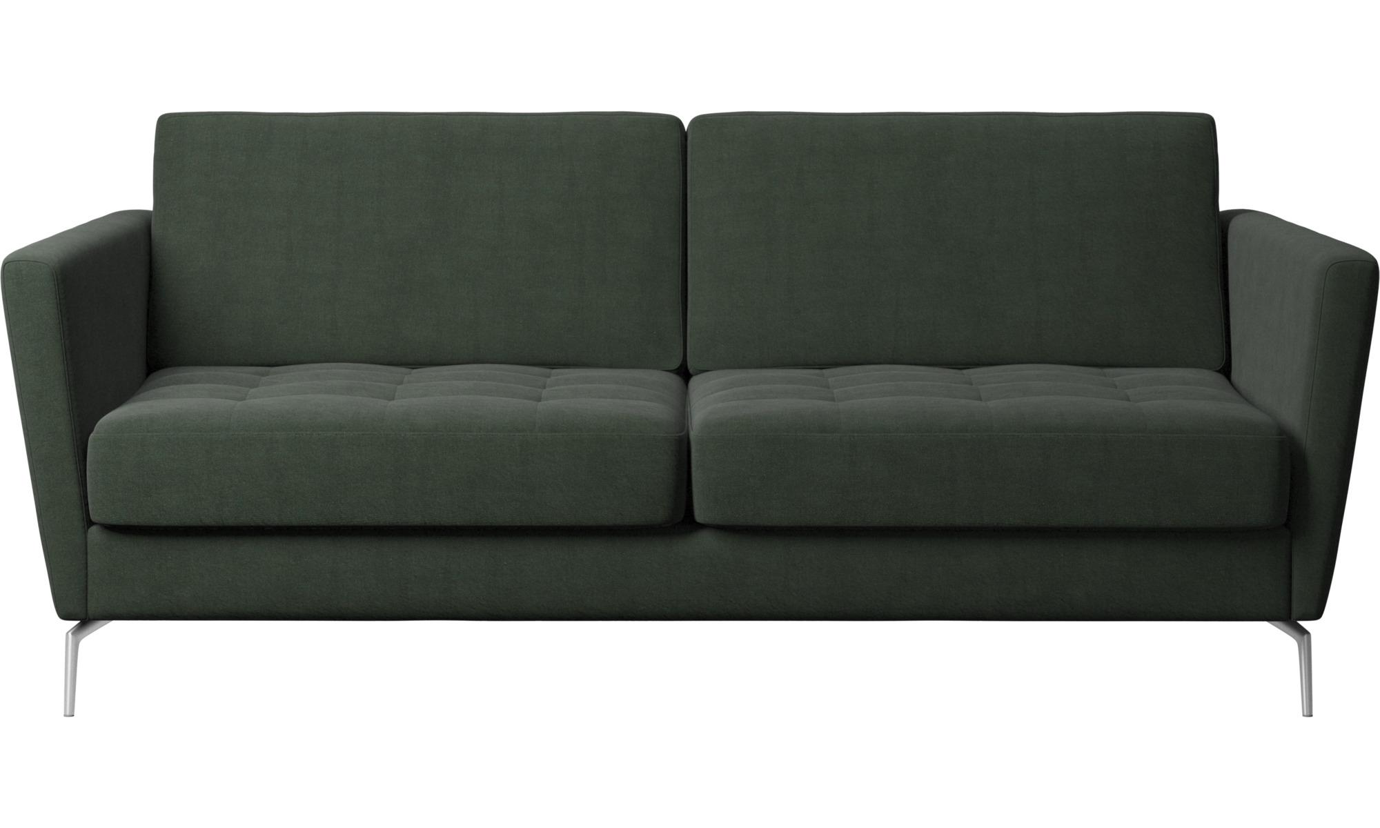 Sofy rozkładane - Sofa Osaka z funkcją spania, pikowane siedzisko - Zielony - Tkanina
