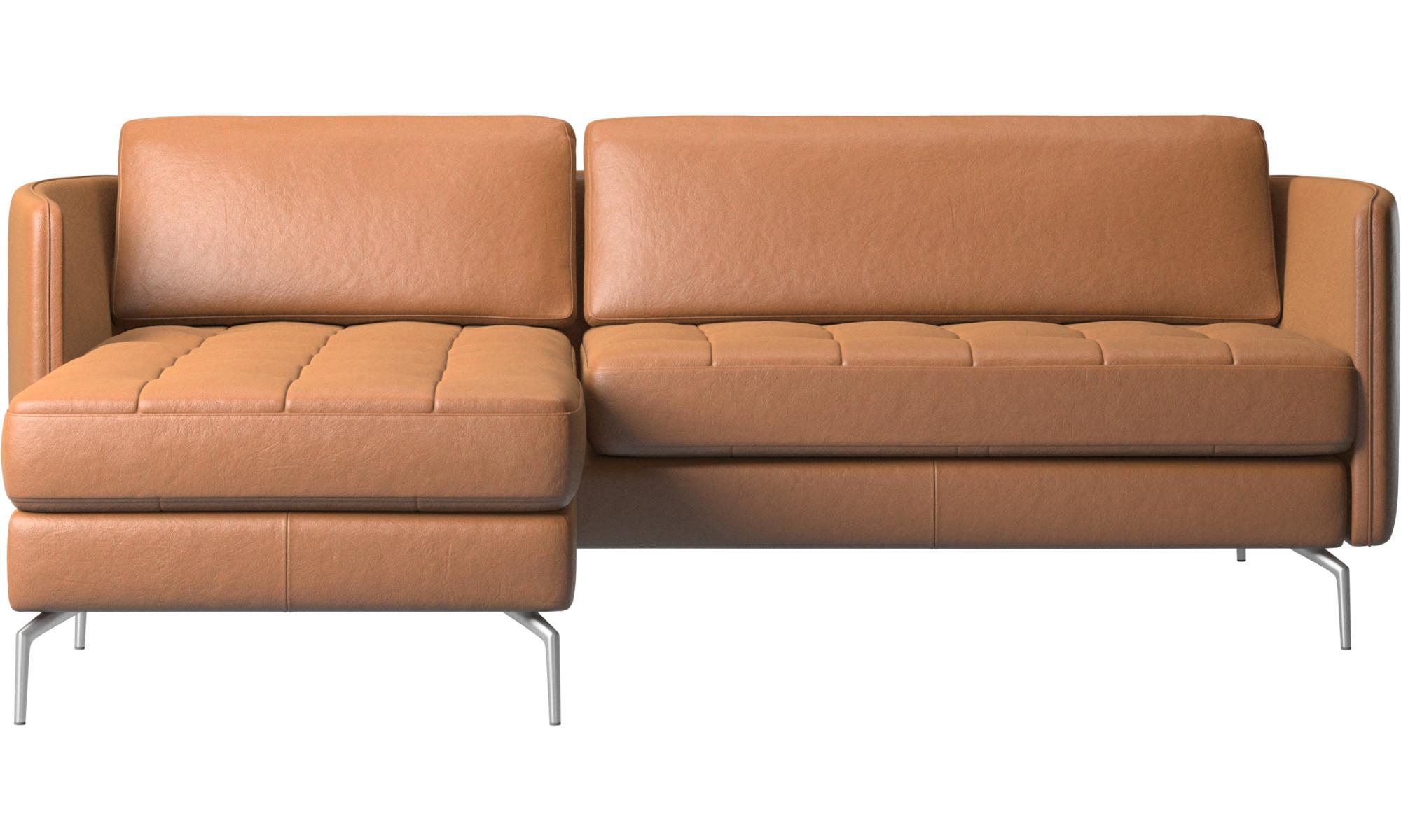 Sofaer med chaiselong - Osaka sofa med hvilemodul, tuftet sædehynde - Brun - Læder