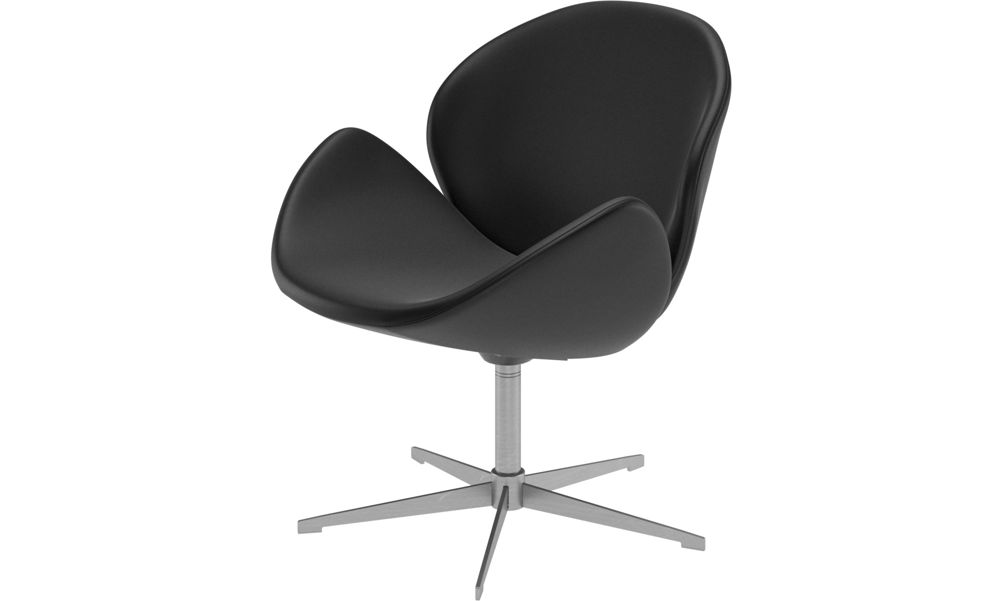 Armchairs - Ogi chair with swivel function - Black - Leather