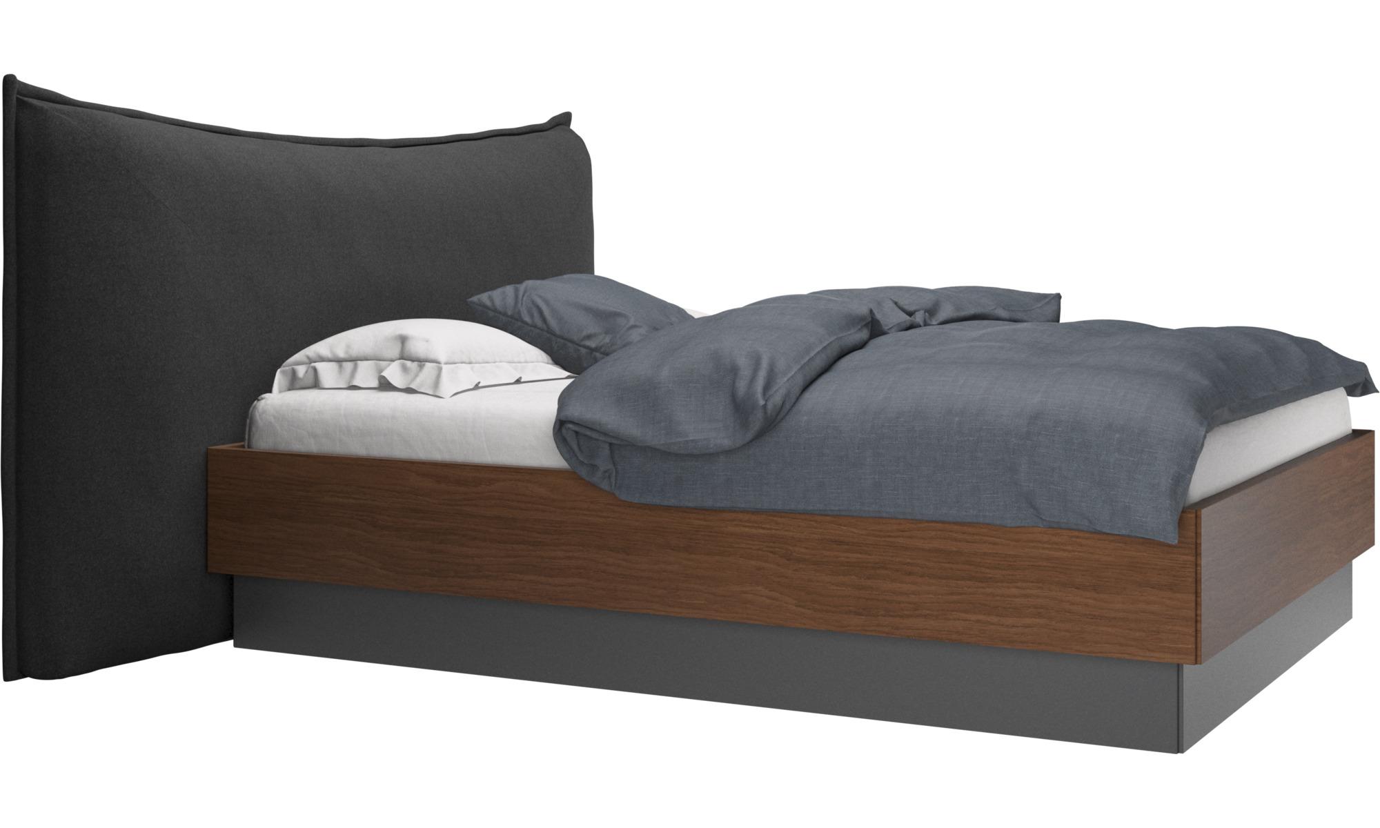 Camas - Cama con canapé, estructura elevable y tablado, no incluye colchón Gent - En gris - Tela