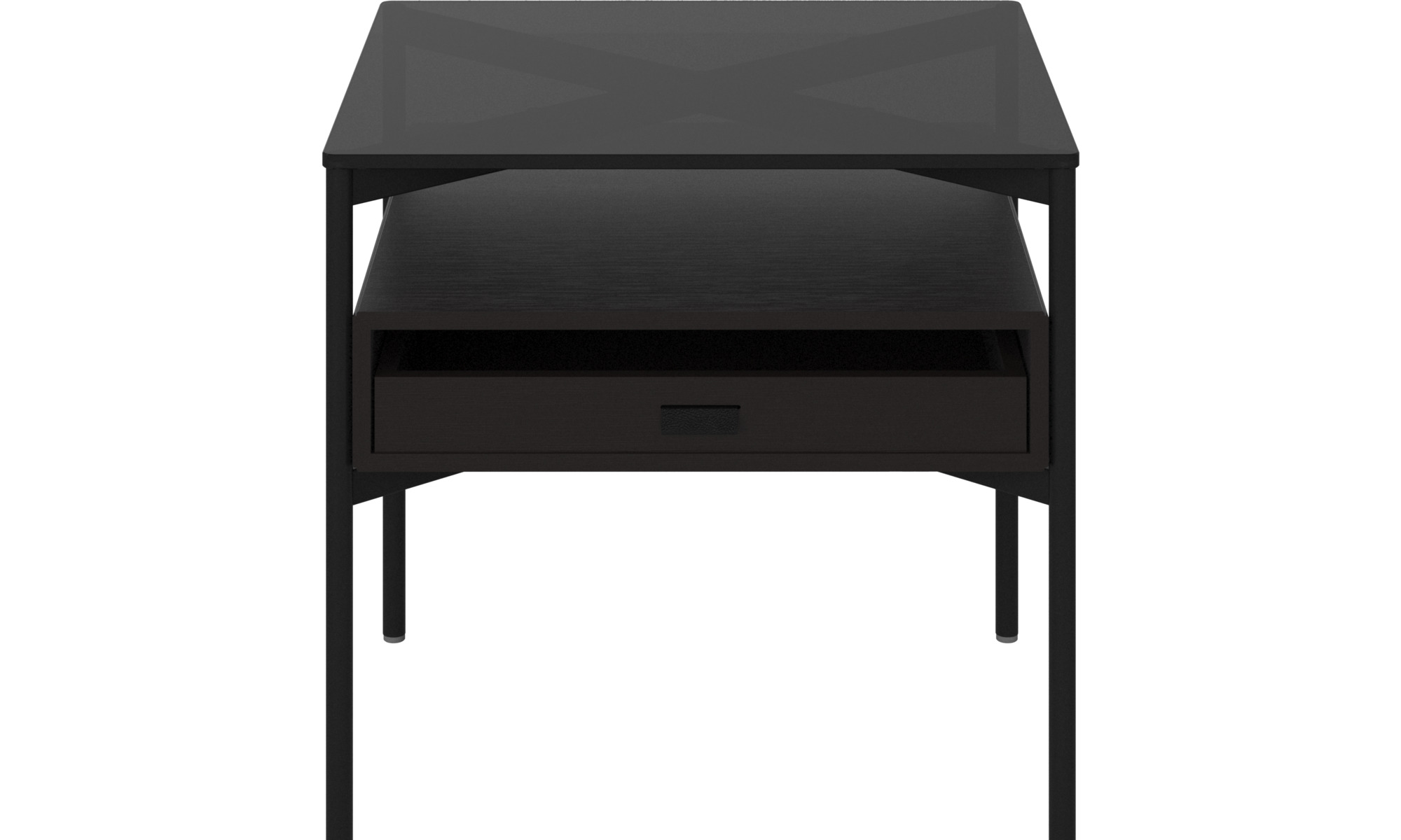 Small furniture - Los Angeles side table with storage - drawer - square - Brown - Glass
