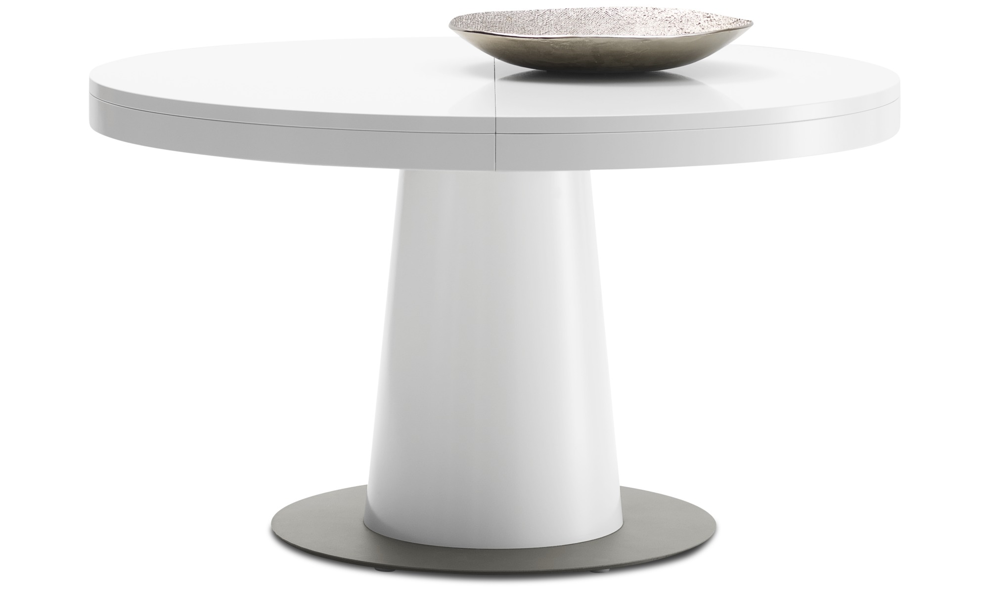 Dining tables - Granada table with supplementary tabletop - round - White - Lacquered