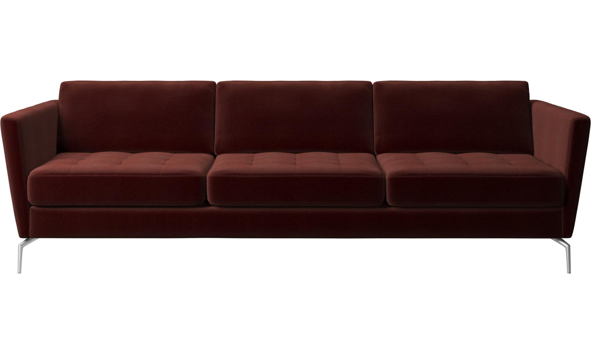3 seater sofas - Osaka sofa, tufted seat - Red - Fabric
