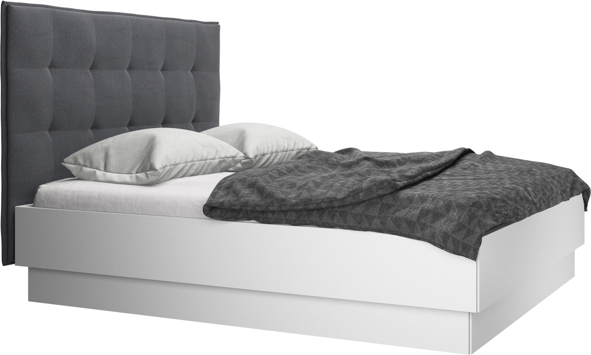 Beds - Lugano storage bed with lift-up frame and slats, excl. mattress - Grey - Fabric
