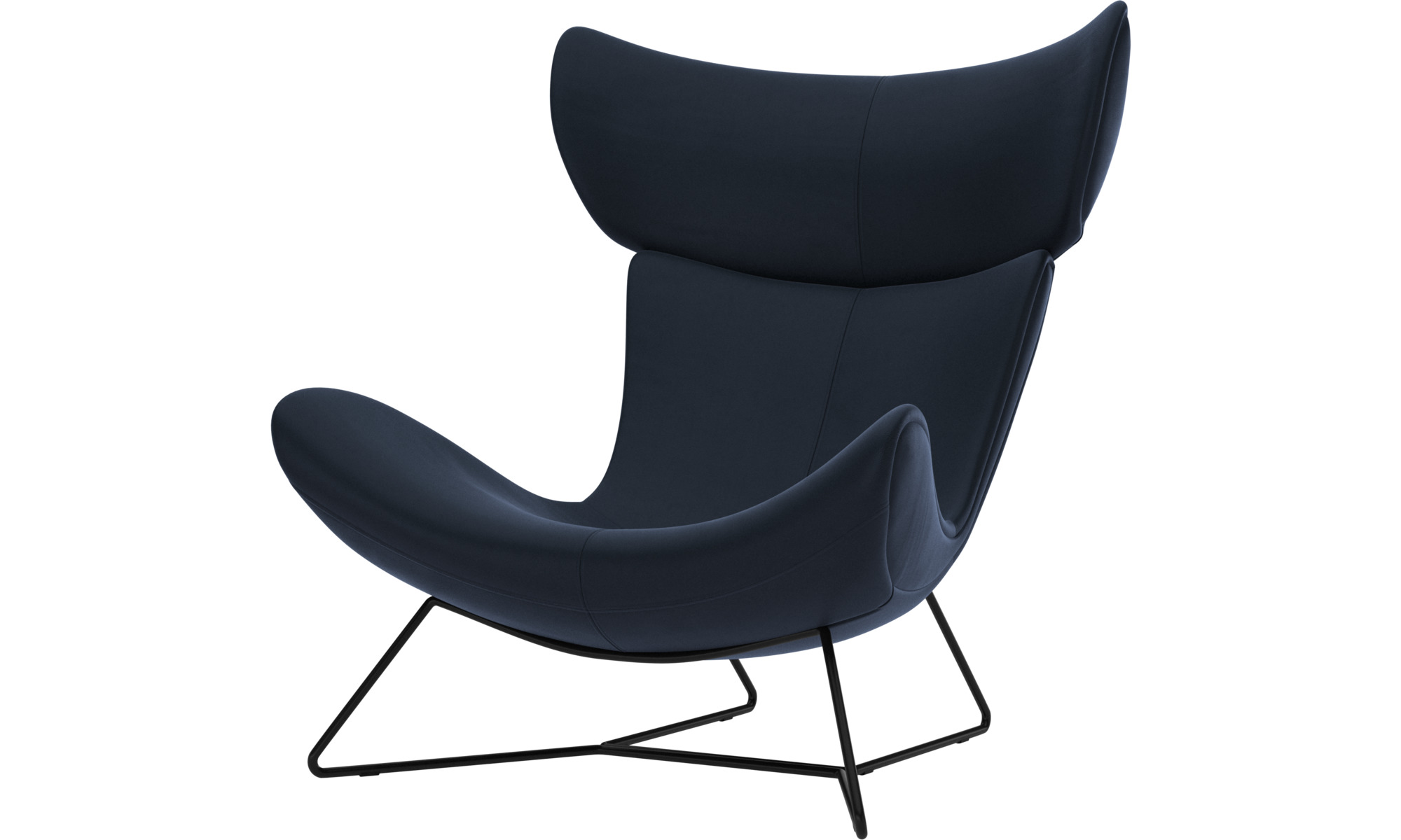 Armchairs - Imola chair - Blue - Leather