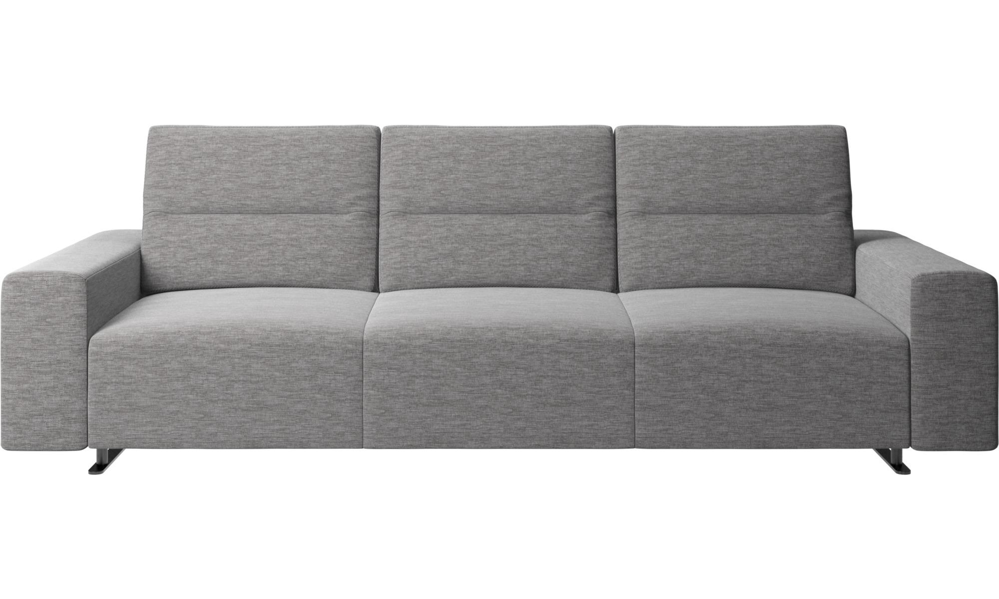 Canapés 3 places - Canapé Hampton avec dossier ajustable et espace de rangement côté droit - Gris - Tissu