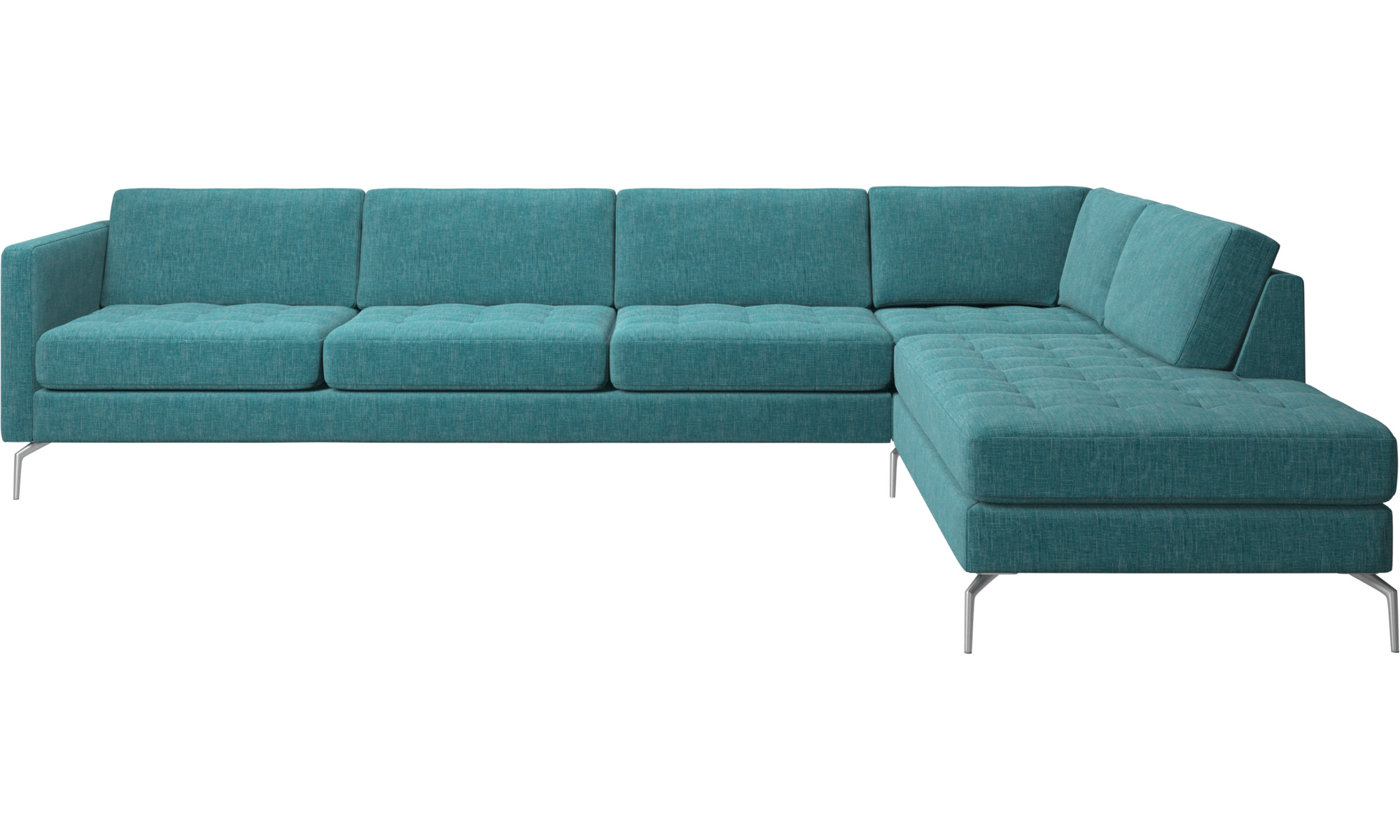 Sofas With Open End   Osaka Corner Sofa With Lounging Unit, Tufted Seat    Blue ...