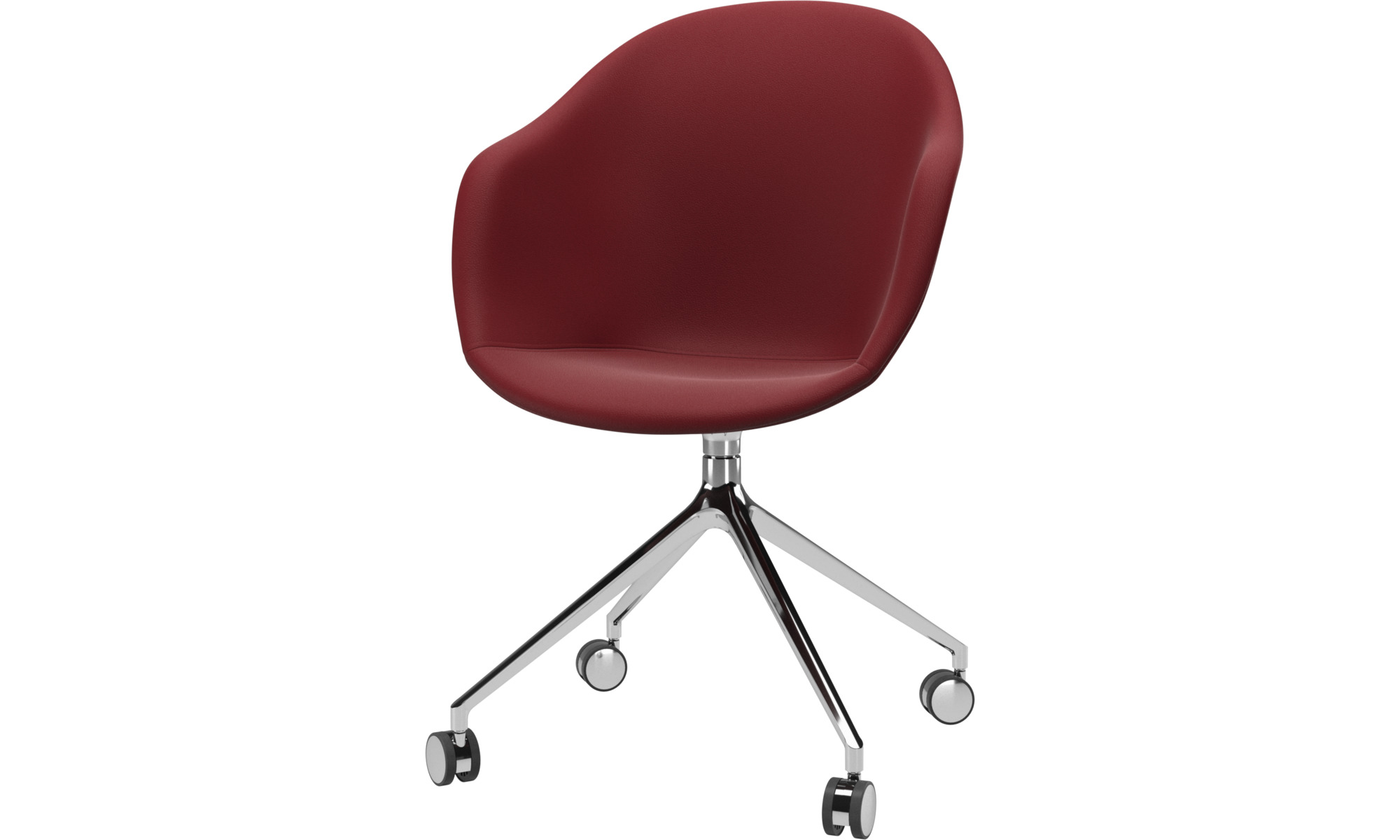 Home office chairs - Adelaide chair with swivel function and wheels - Red - Leather