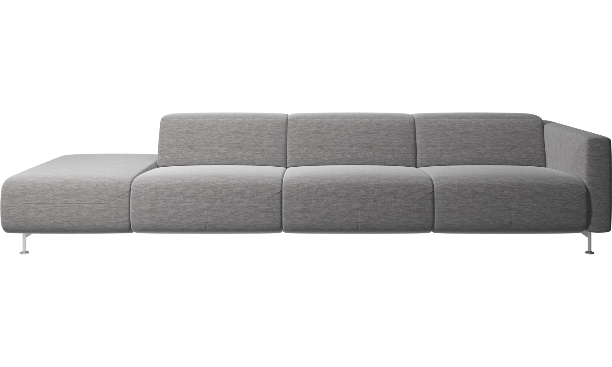Recliner sofas - Parma reclining sofa with open end - Grey - Fabric