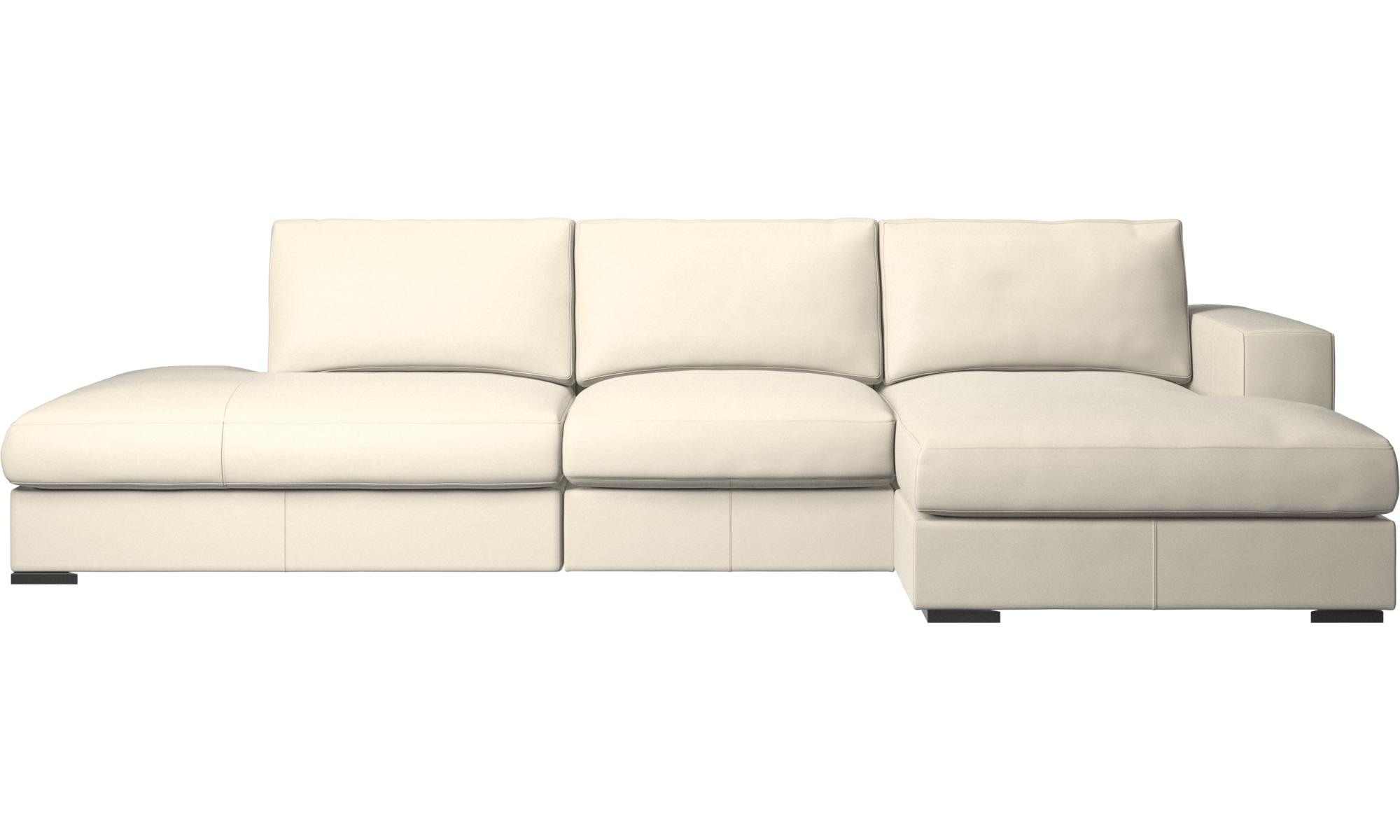Canapés avec méridienne - Canapé Cenova avec méridienne et chaise longue - Blanc - Cuir