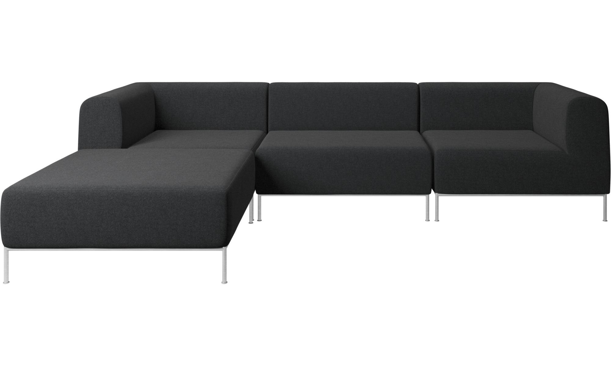 Modular Sofas Miami Corner Sofa With Footstool On Left Side Grey Metal