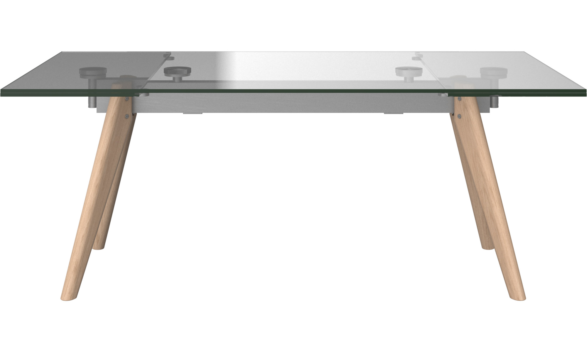 Dining tables - Monza table with supplementary tabletops - rectangular - Clear - Glass