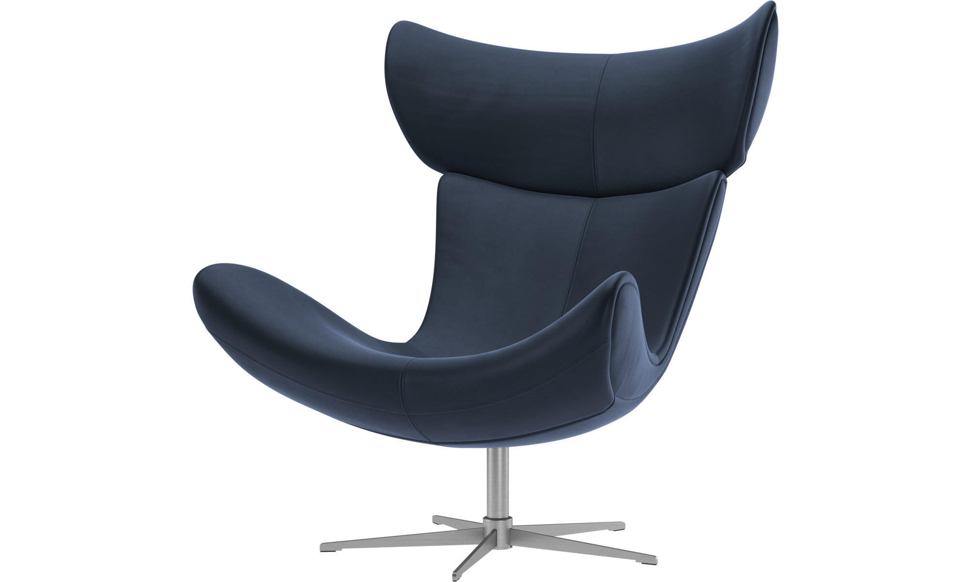 Armchairs - Imola chair with swivel function - Blue - Leather