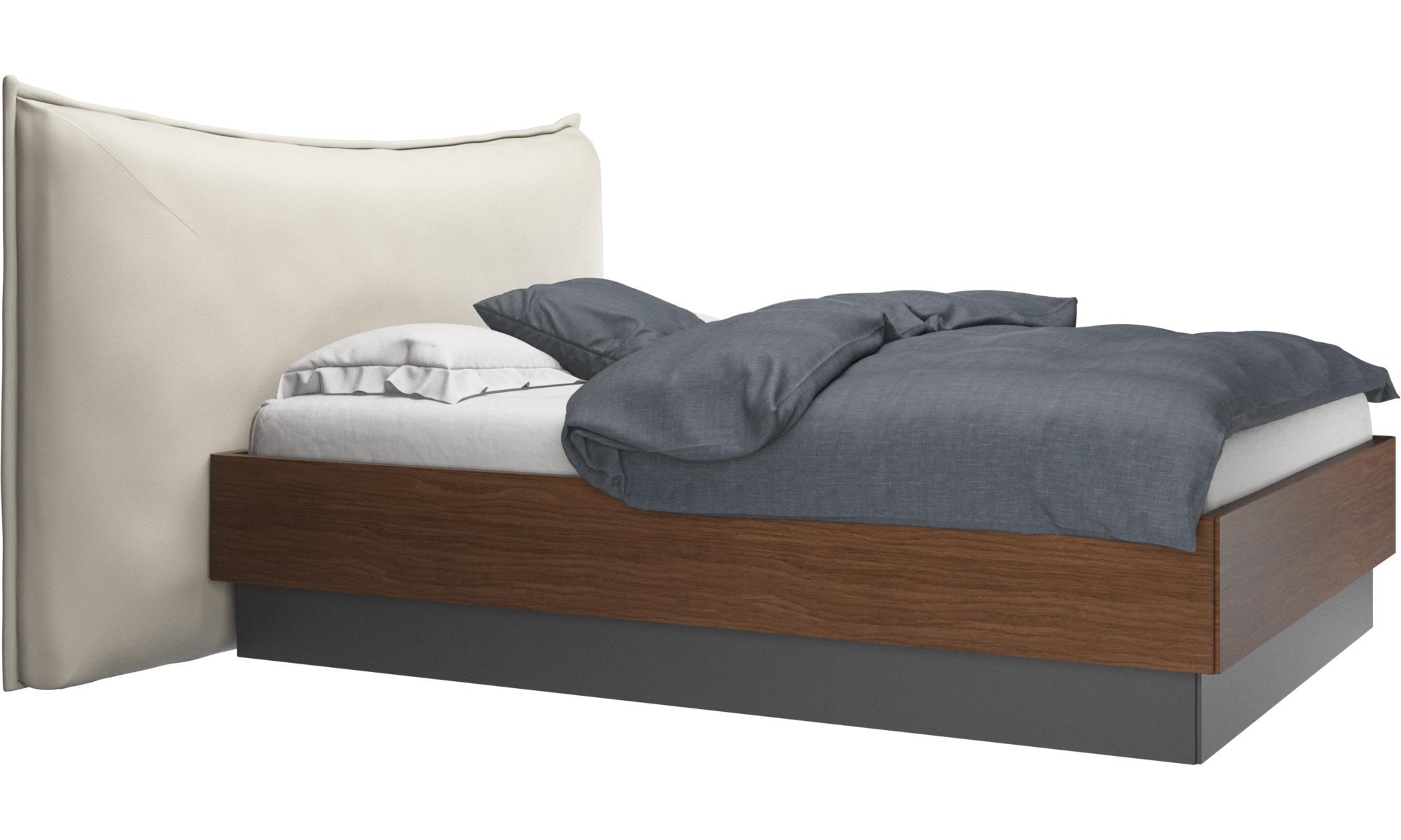 Camas - Cama con canapé, estructura elevable y tablado, no incluye colchón Gent - Blanco - Piel