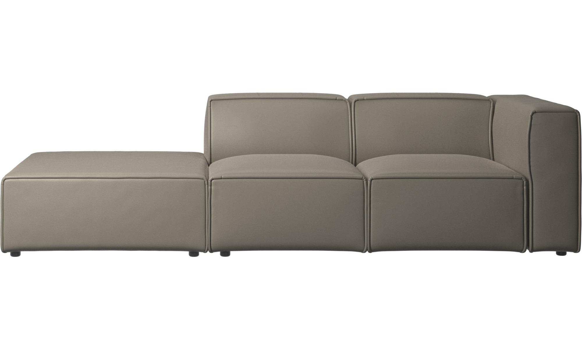 Sofaer med hvilemodul - Carmo sofa med funktionssæde - Grå - Læder