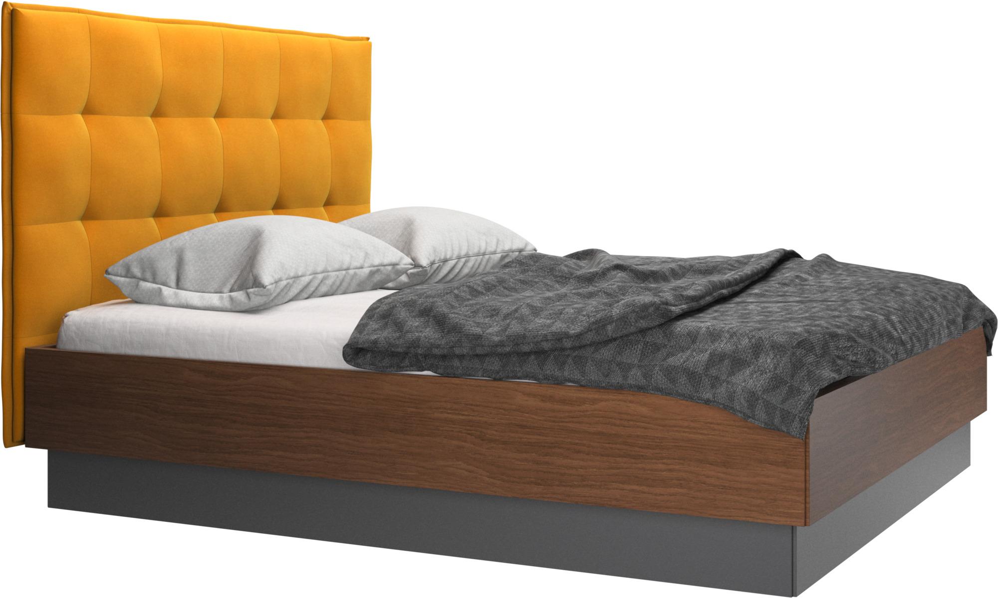 Camas - Cama con canapé Lugano, estructura elevable y tablado, no incluye colchón - Naranja - Tela