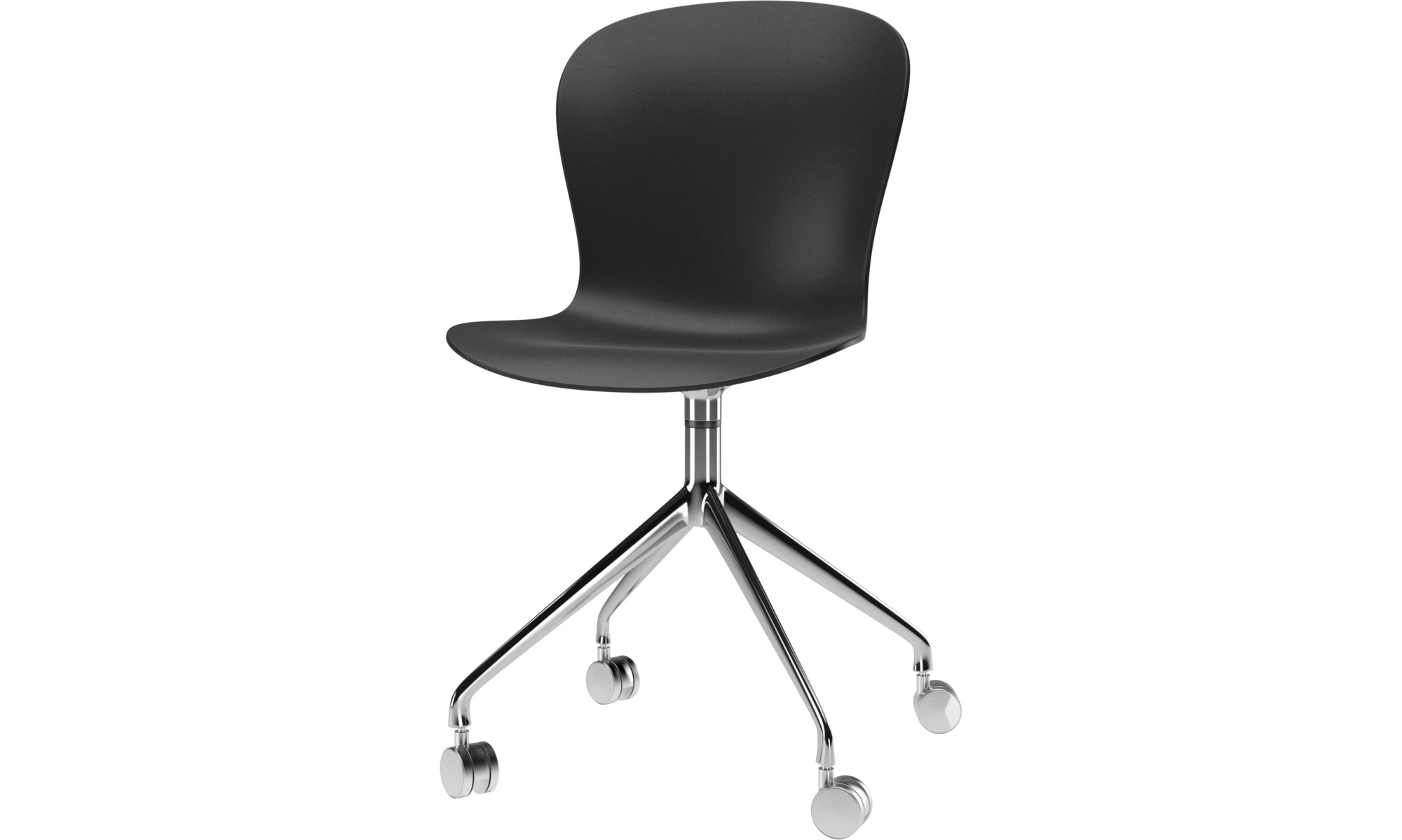 Home office chairs - Adelaide chair with swivel function and wheels - Black - Metal