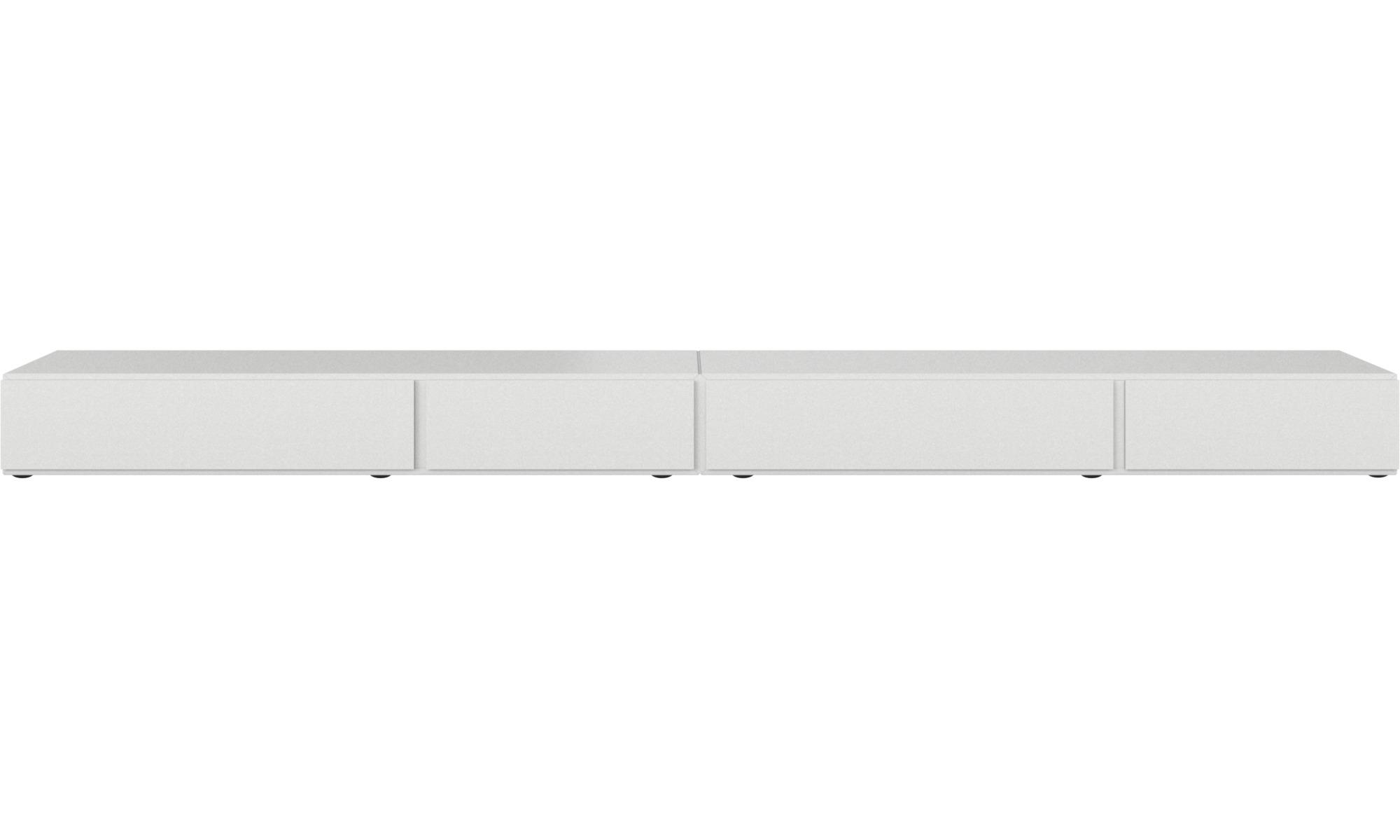 Muebles de TV - Armario bajo Lugano con cajones y puertas abatibles hacia abajo - Blanco - Laca