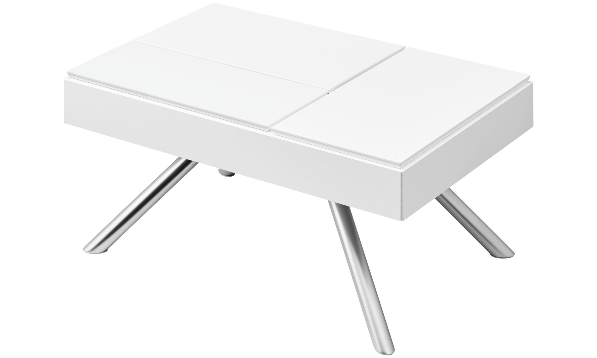 Chiva Functional Coffee Table With Storage Rectangular White Lacquered
