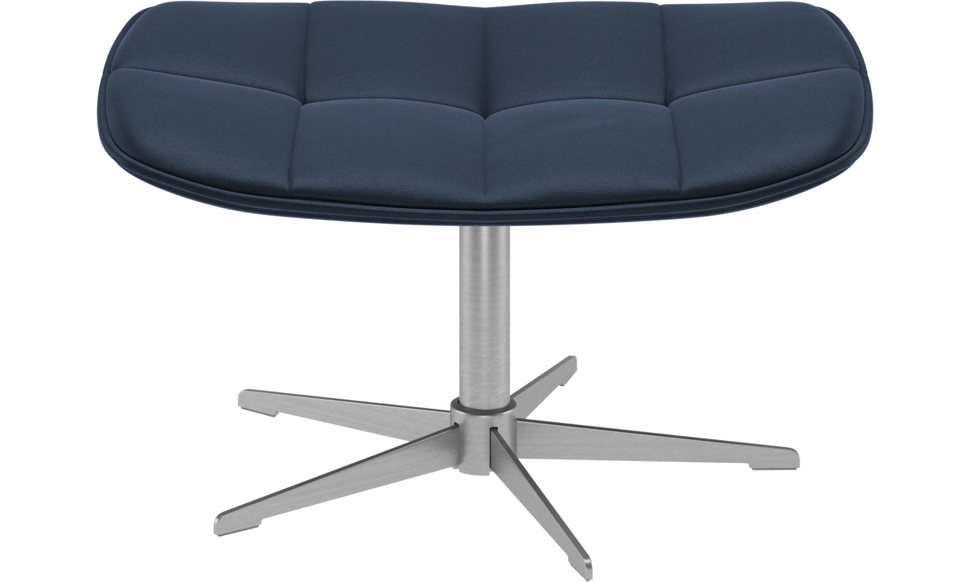 Footstools - Boston footstool - Blue - Leather