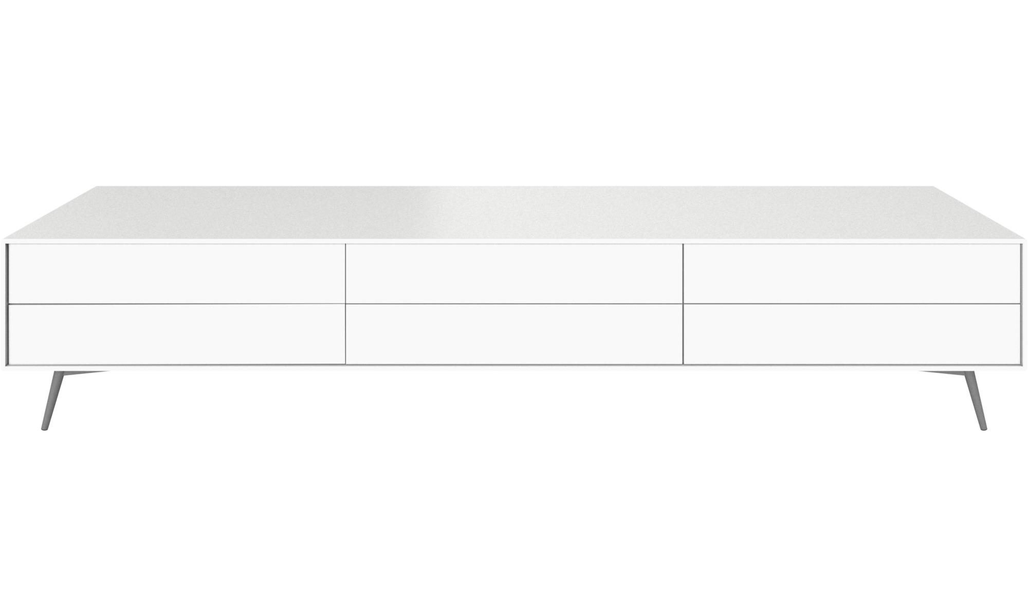 Tv units - Fermo media unit - White - Lacquered
