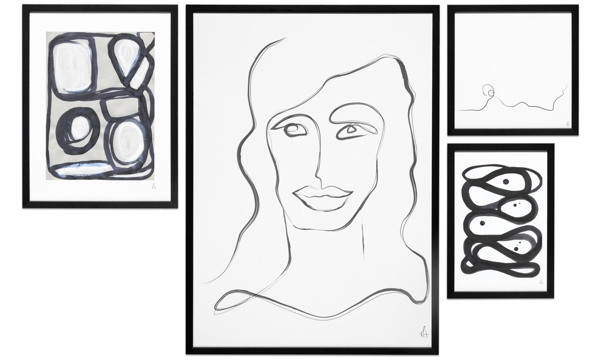 Galeria - Artystyczny plakat Art Lines, zestaw 4szt. - Czarny - Papier