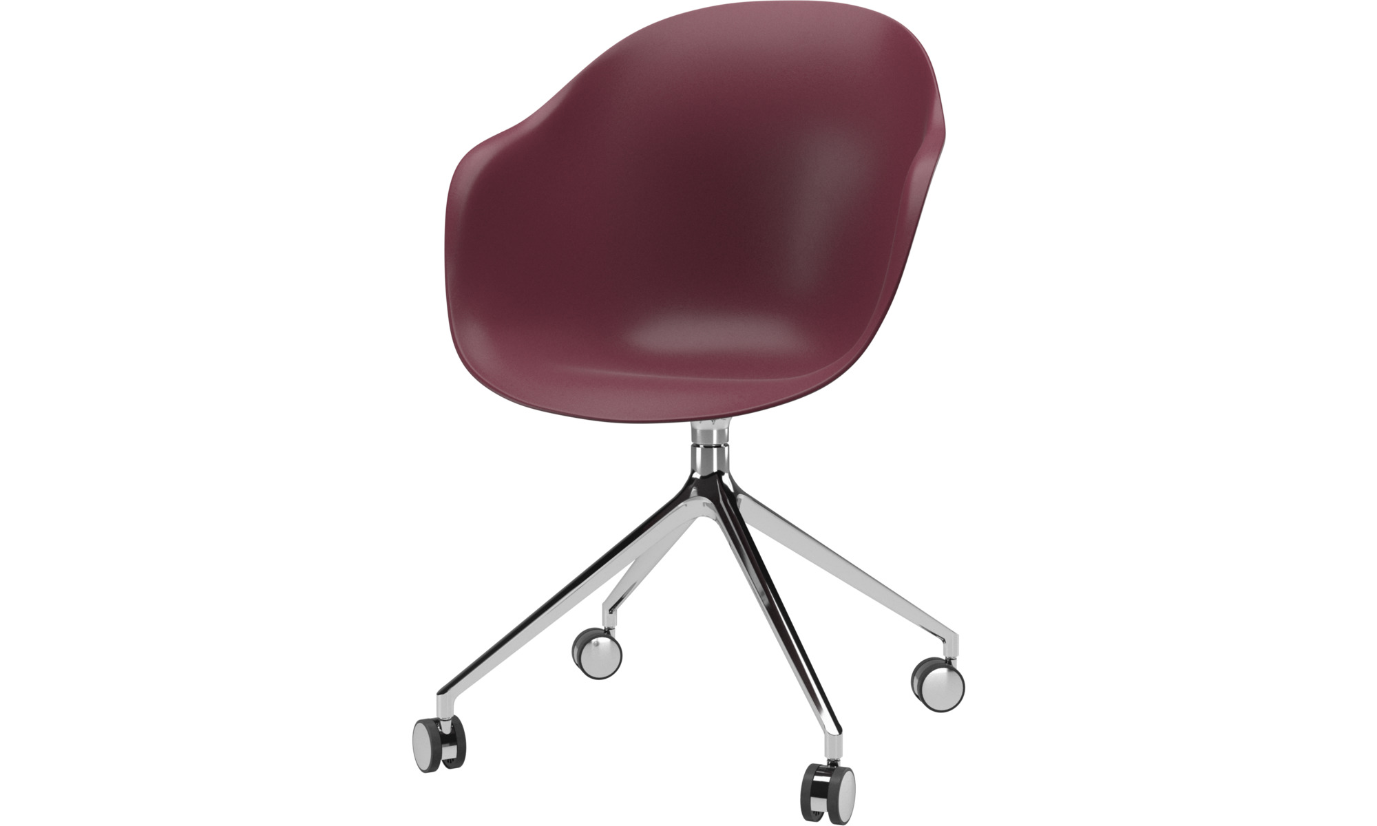 Home office chairs - Adelaide chair with swivel function and wheels - Red - Plastic