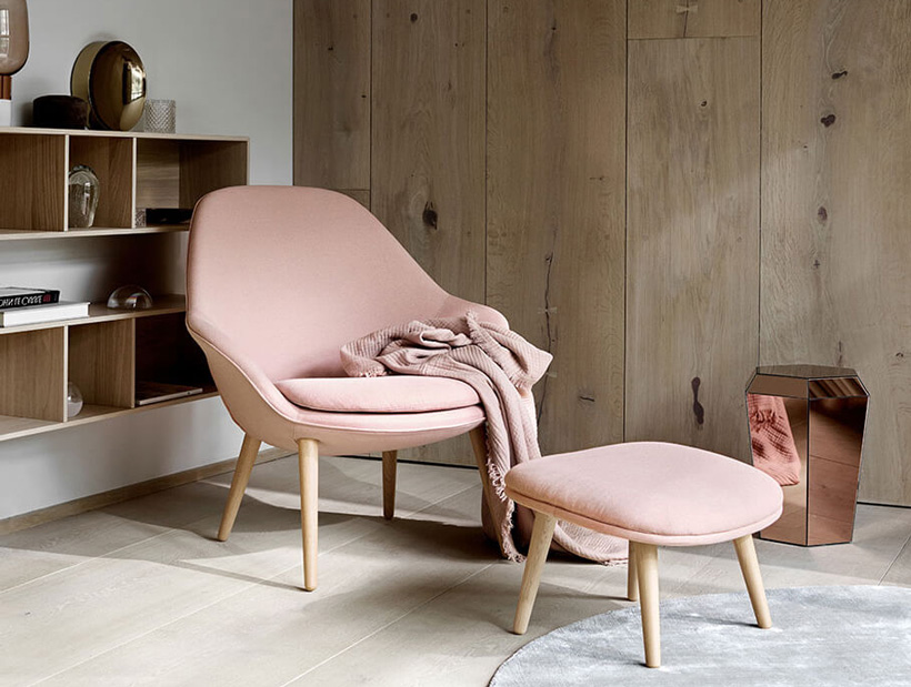 Dusty rose Adelaide chair, with a dusty rose blanket and Diamond mirror table