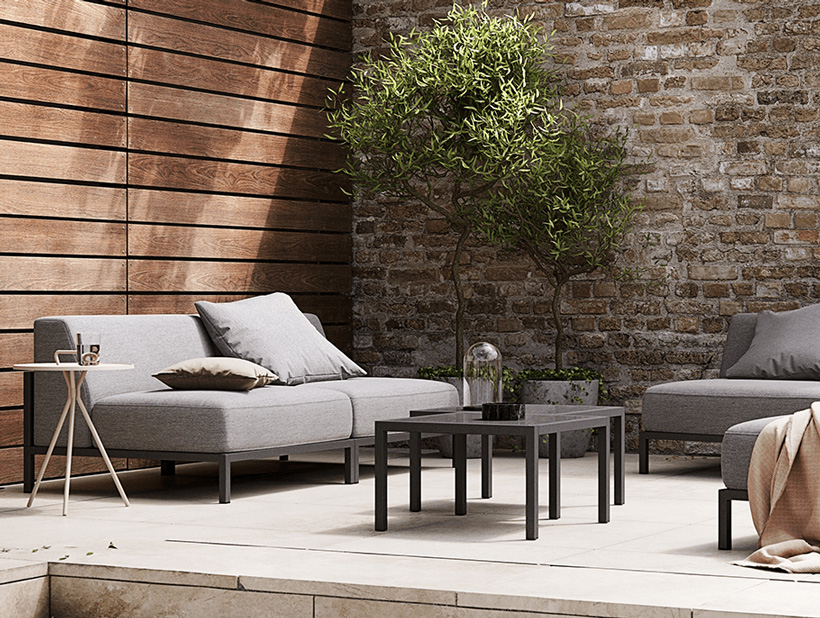 Grey Rome outdoor sofa and black Rome outdoor table