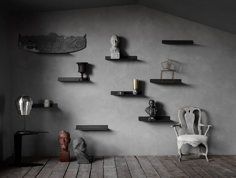 Black Como shelves inspiration and silver Pine Cone table lamp
